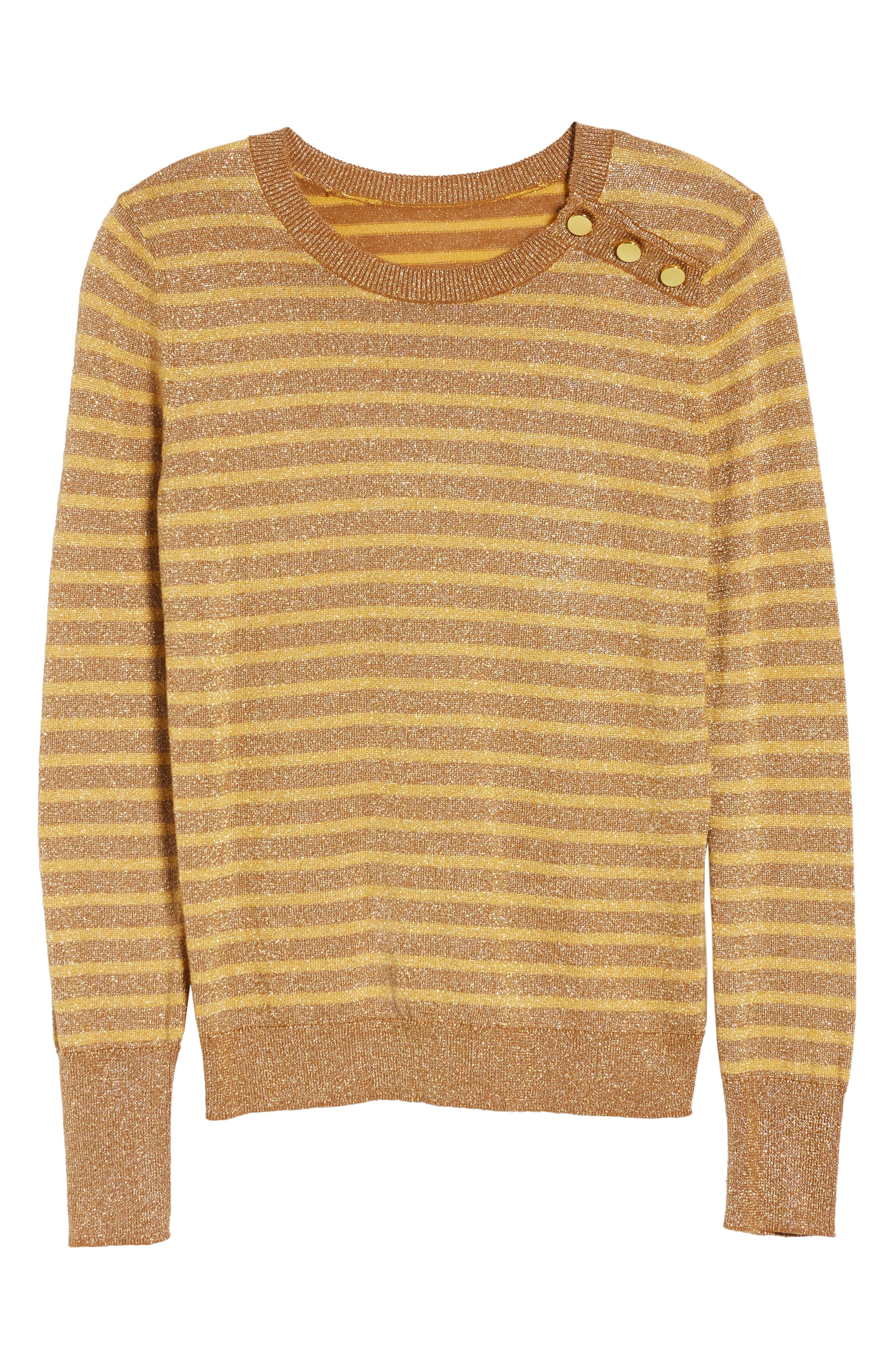 Sparkle Stripe Sweater,                             Alternate thumbnail 6, color,                             Yellow Mineral Combo