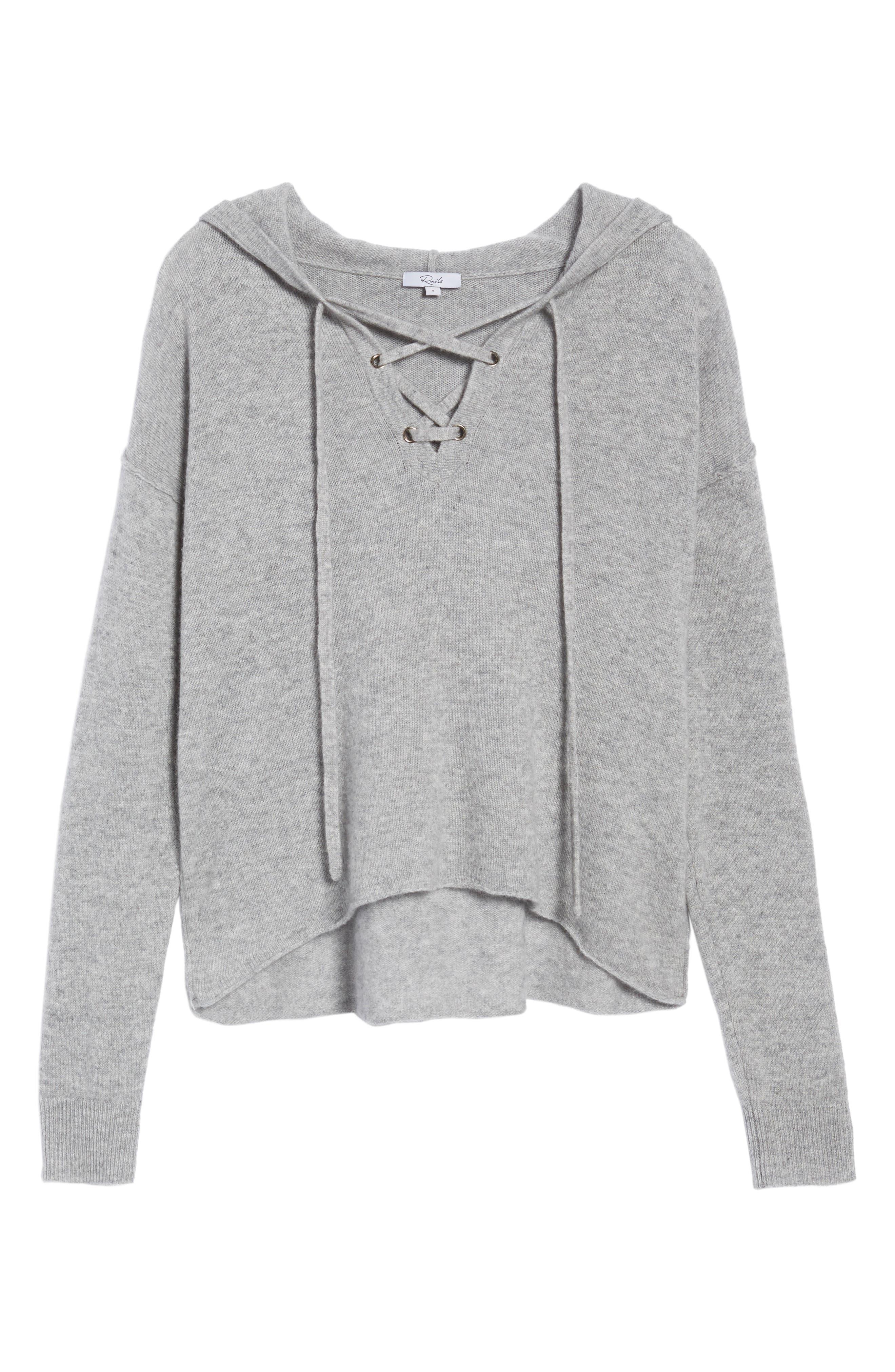 Dakota Cashmere Hooded Sweater,                             Alternate thumbnail 6, color,                             Heather Grey