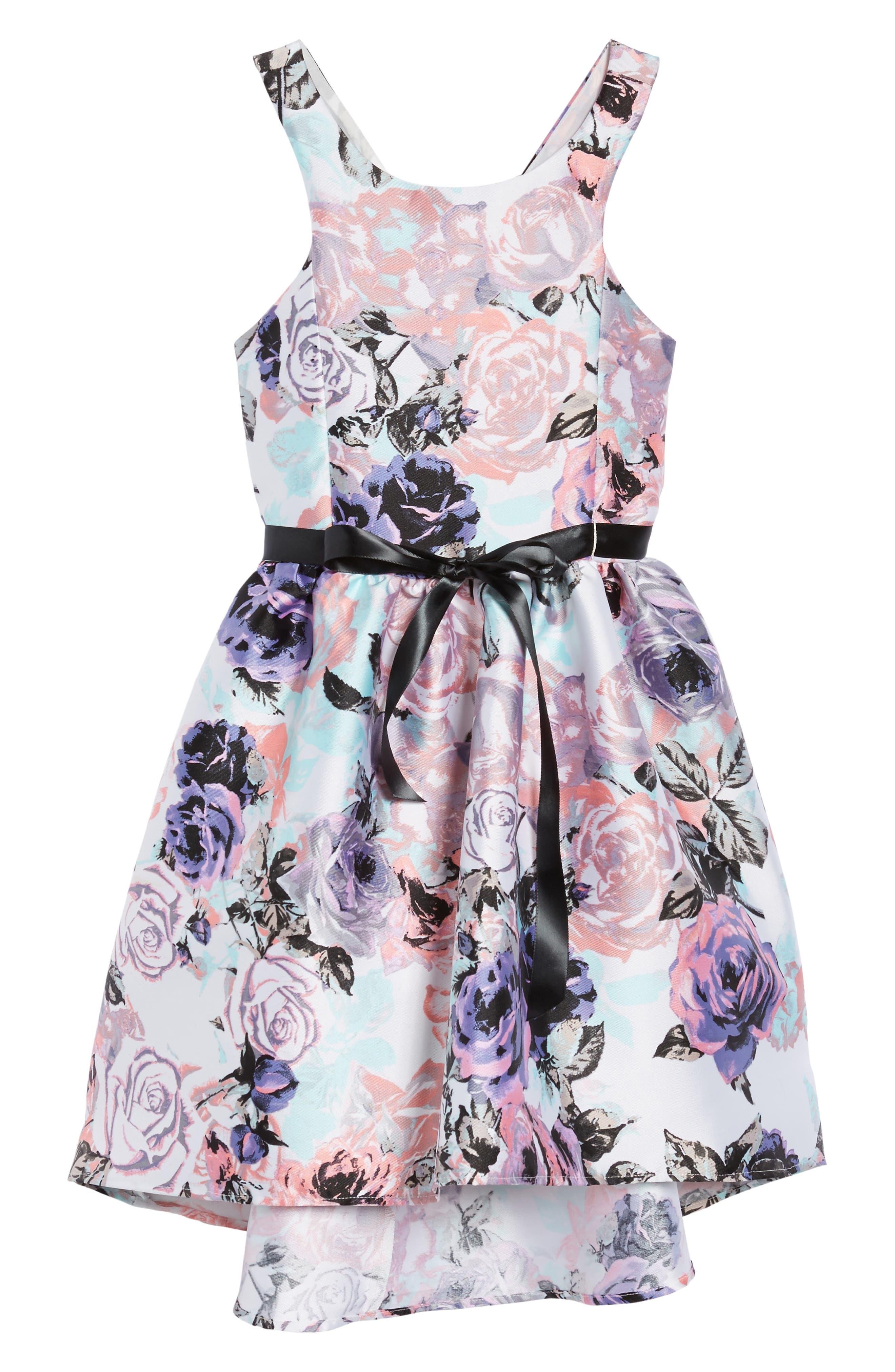 Floral Print Party Dress,                         Main,                         color, Lilac/ Blush