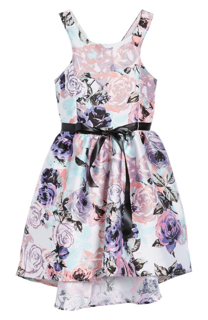Zunie Floral Print Party Dress Big Girls Nordstrom