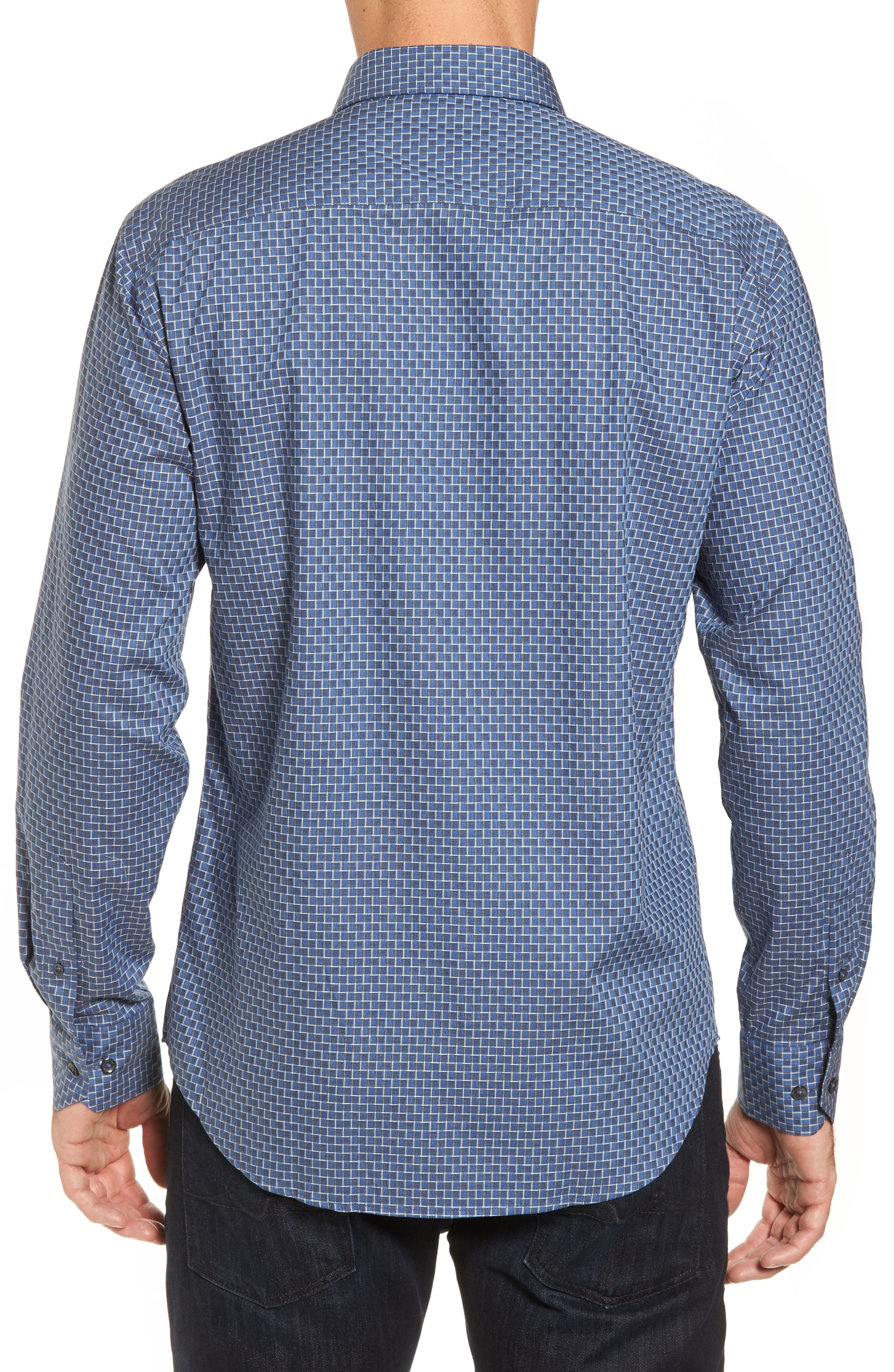 Alternate Image 2  - Bugatchi Shaped Fit Jacquard Sport Shirt