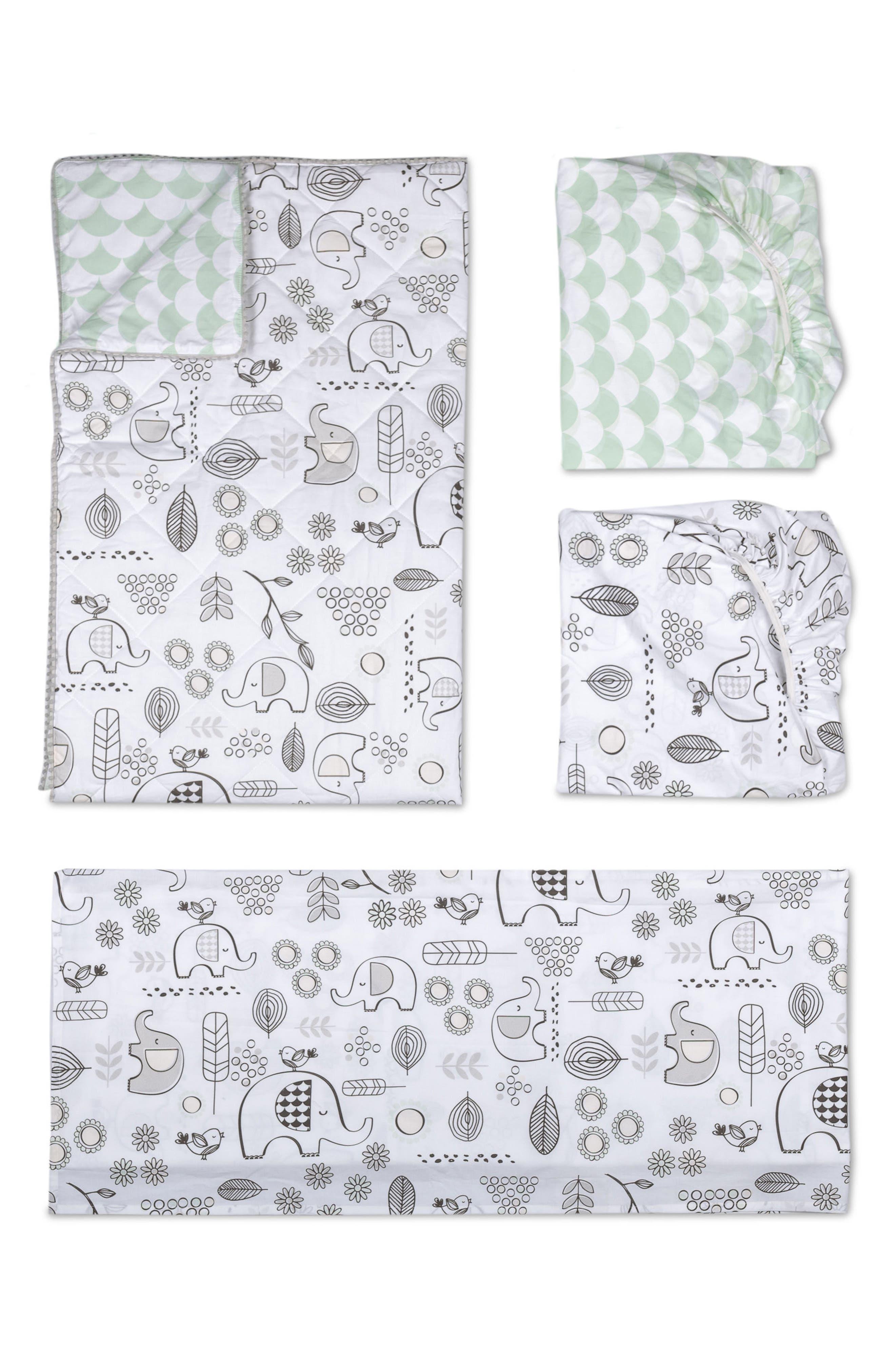 Elle Elephant 4-Piece Crib Bedding Set,                             Main thumbnail 1, color,                             Kayden - Elle Elephant