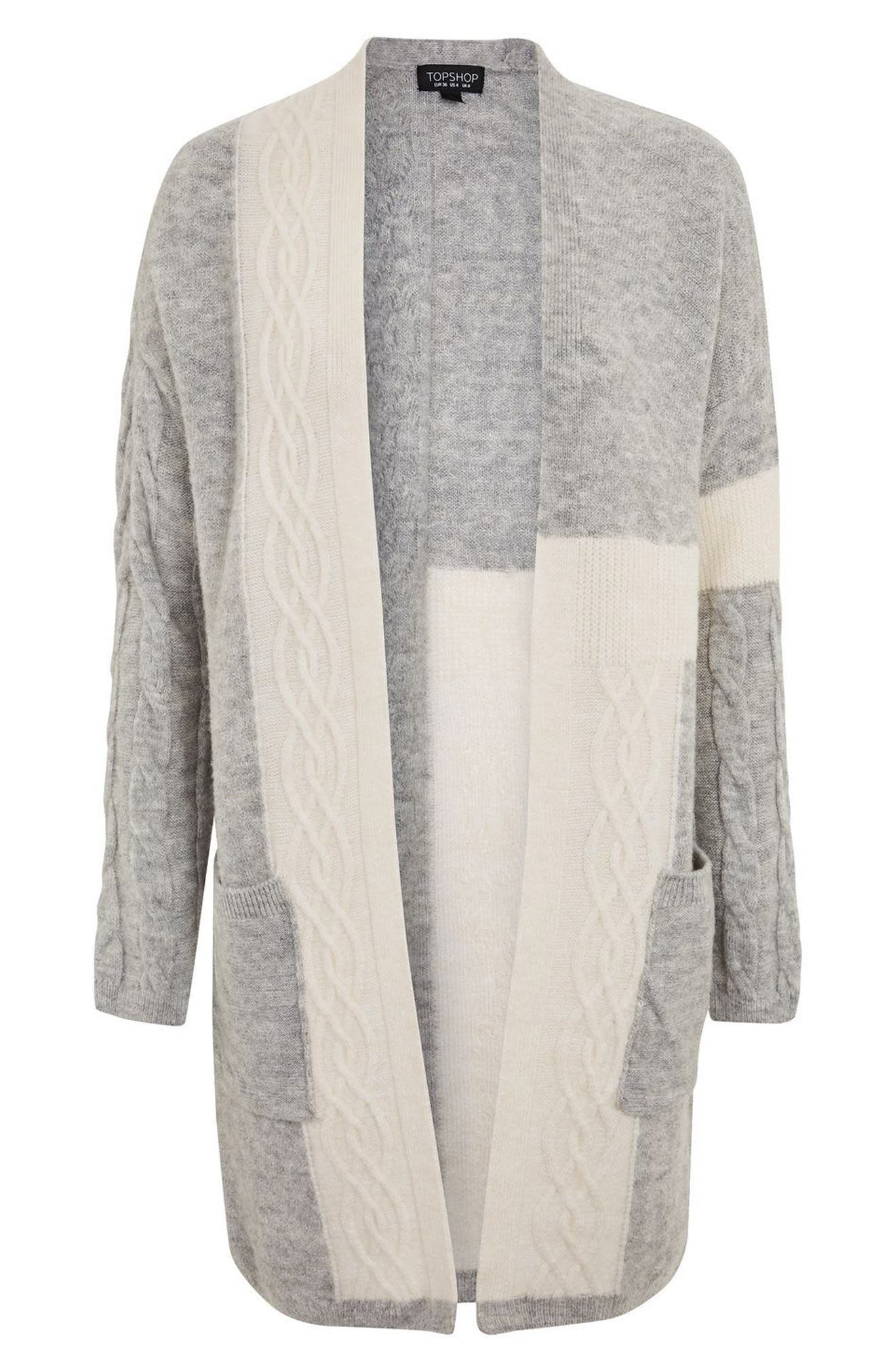 Cable Patchwork Cardigan,                             Alternate thumbnail 5, color,                             Grey Multi