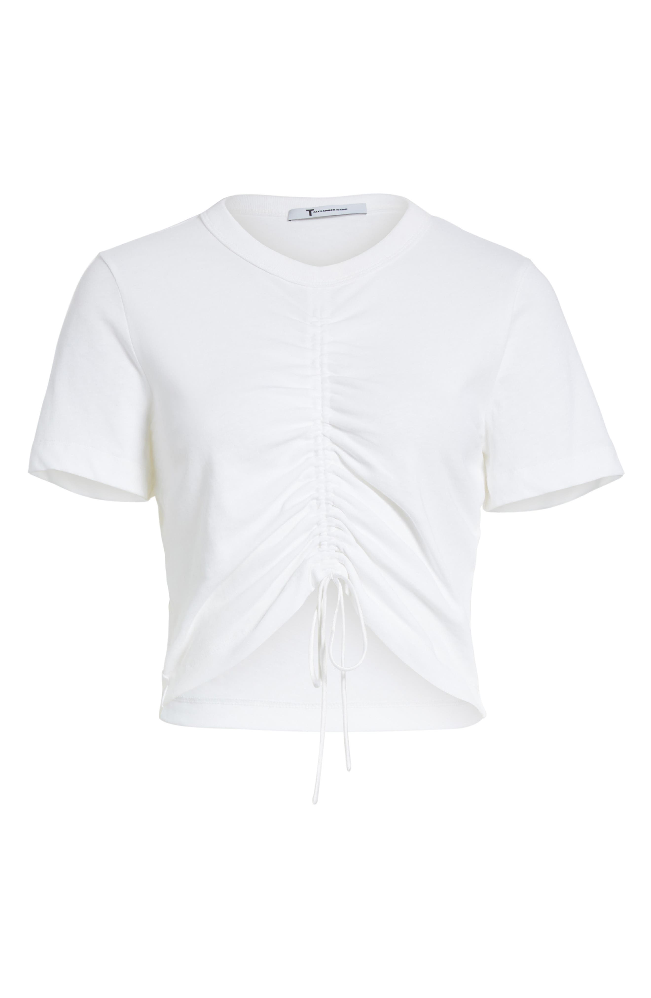 Ruched Cotton Tee,                             Alternate thumbnail 7, color,                             White