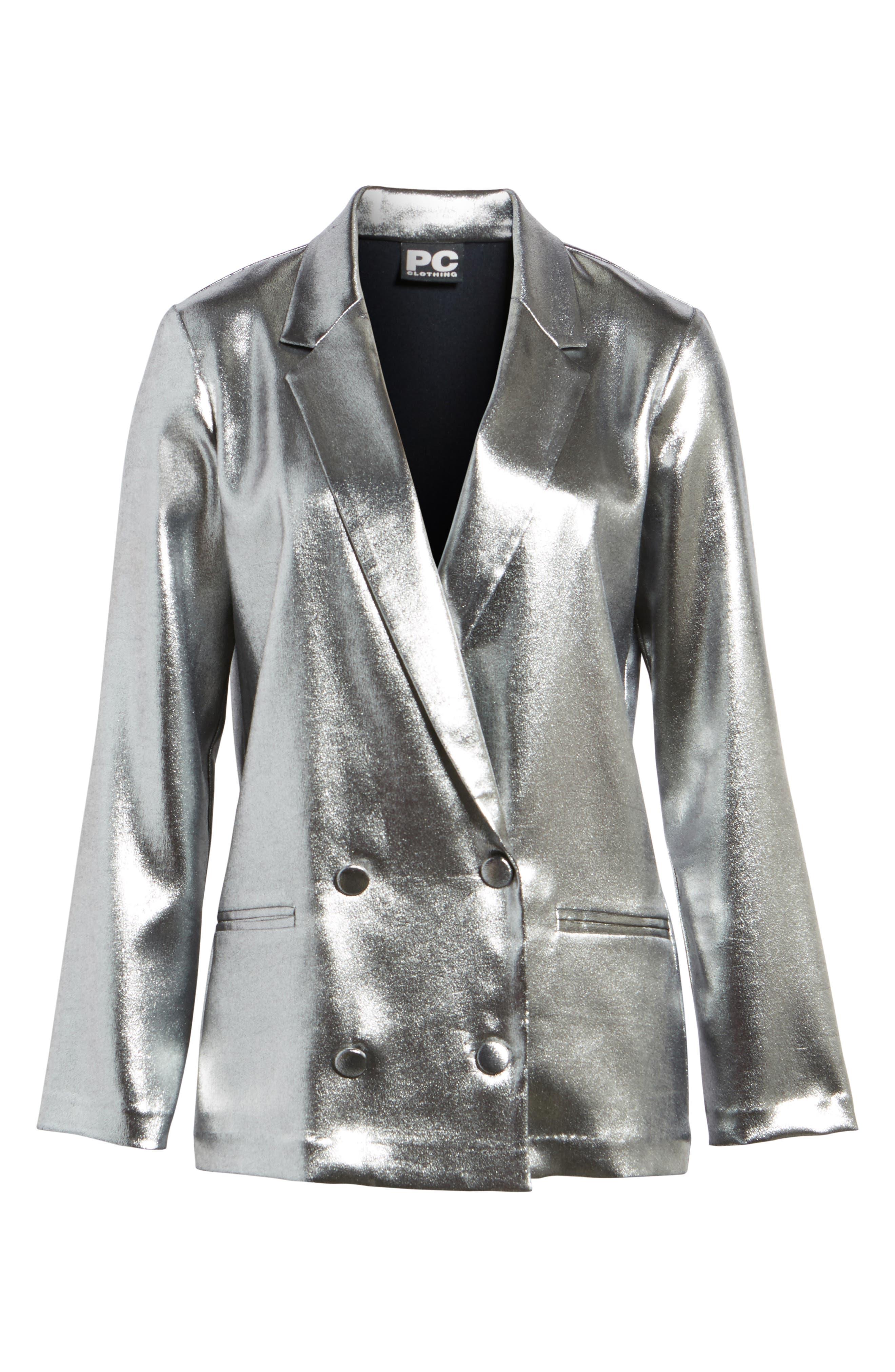 Alternate Image 6  - Topshop Metallic Suit Jacket