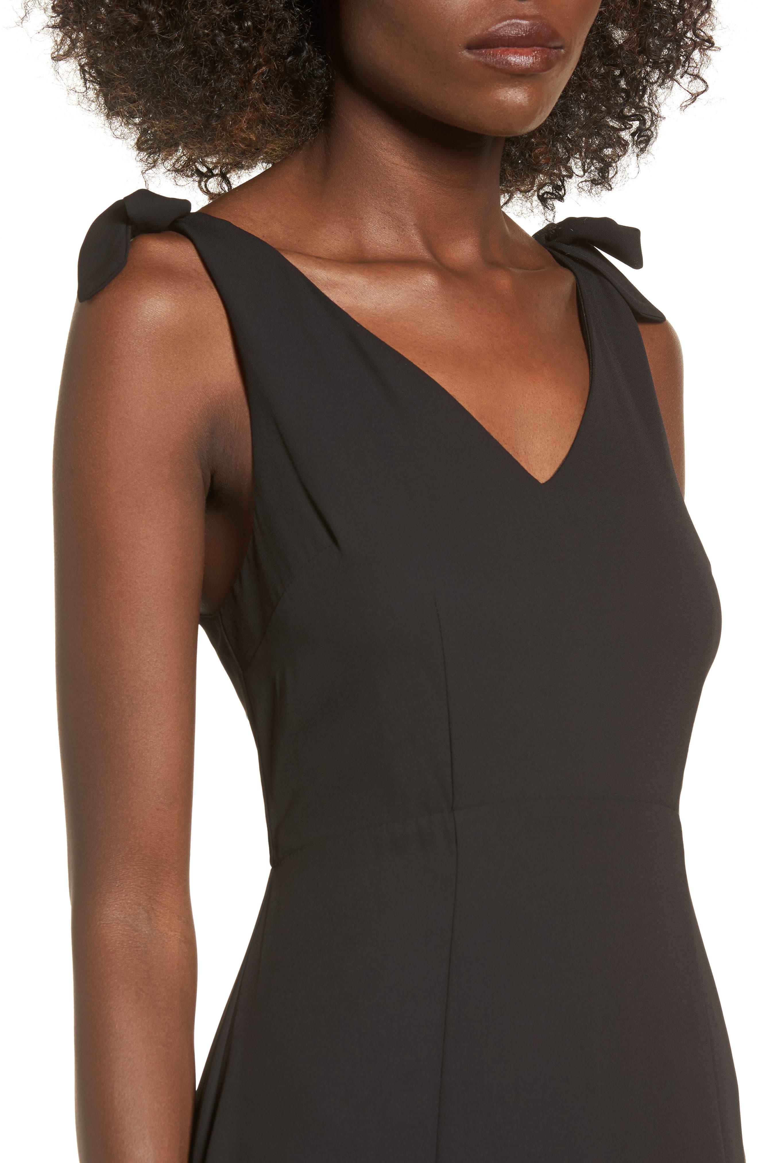 Tie Strap Maxi Dress,                             Alternate thumbnail 4, color,                             Black