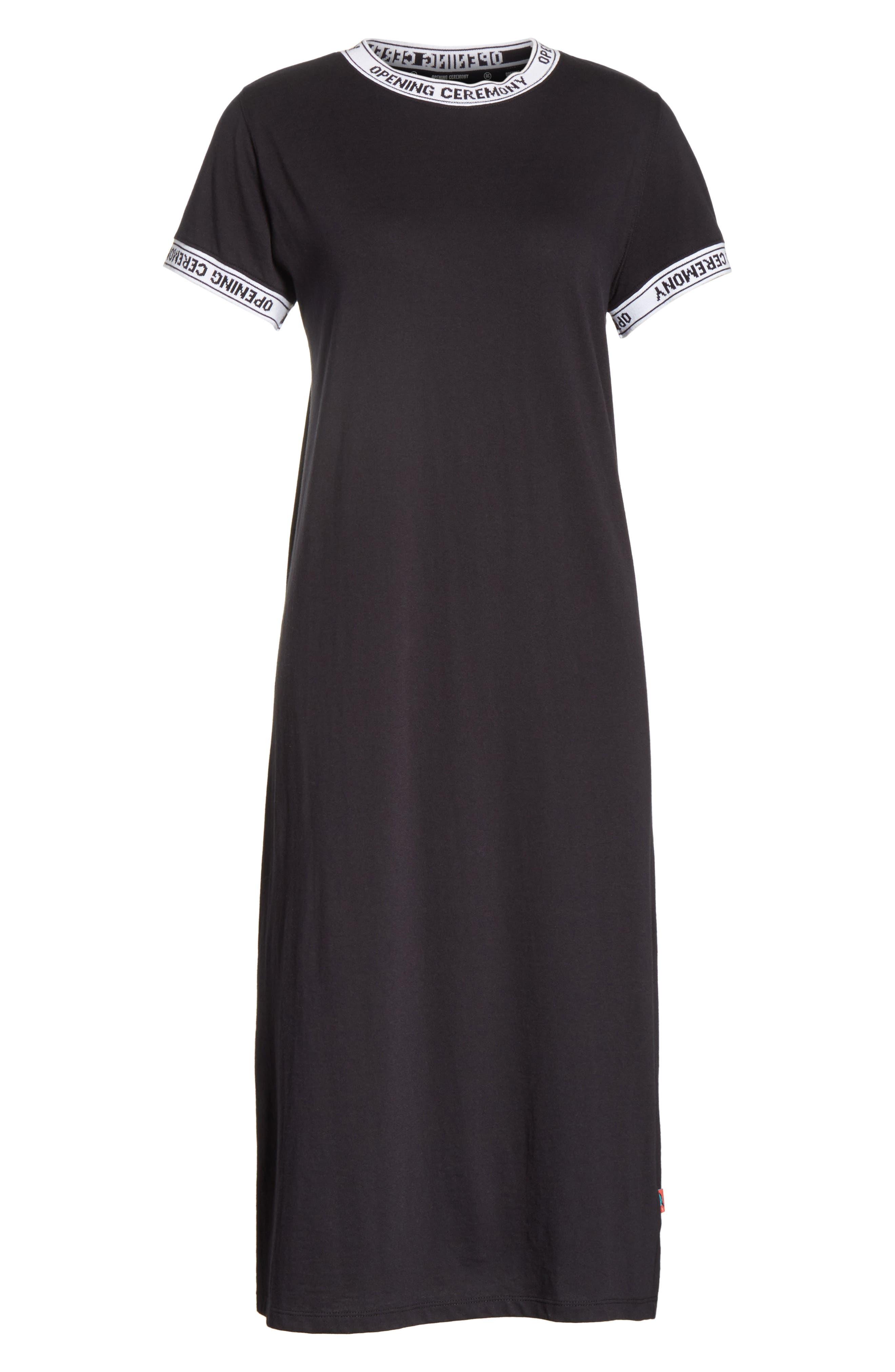 Banded T-Shirt Dress,                             Alternate thumbnail 6, color,                             Black