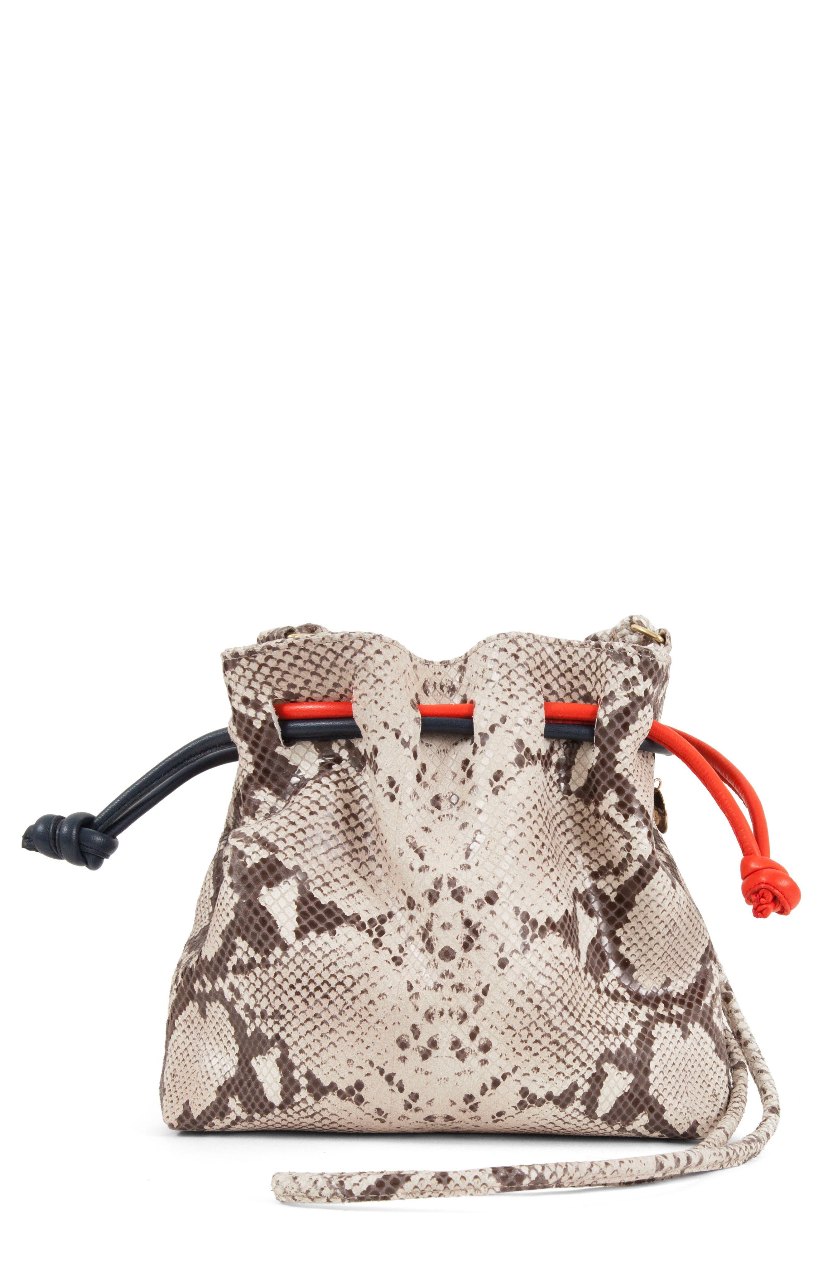 Petite Henri Supreme Snakeskin Embossed Leather Bucket Bag,                             Main thumbnail 1, color,                             Tan Snake