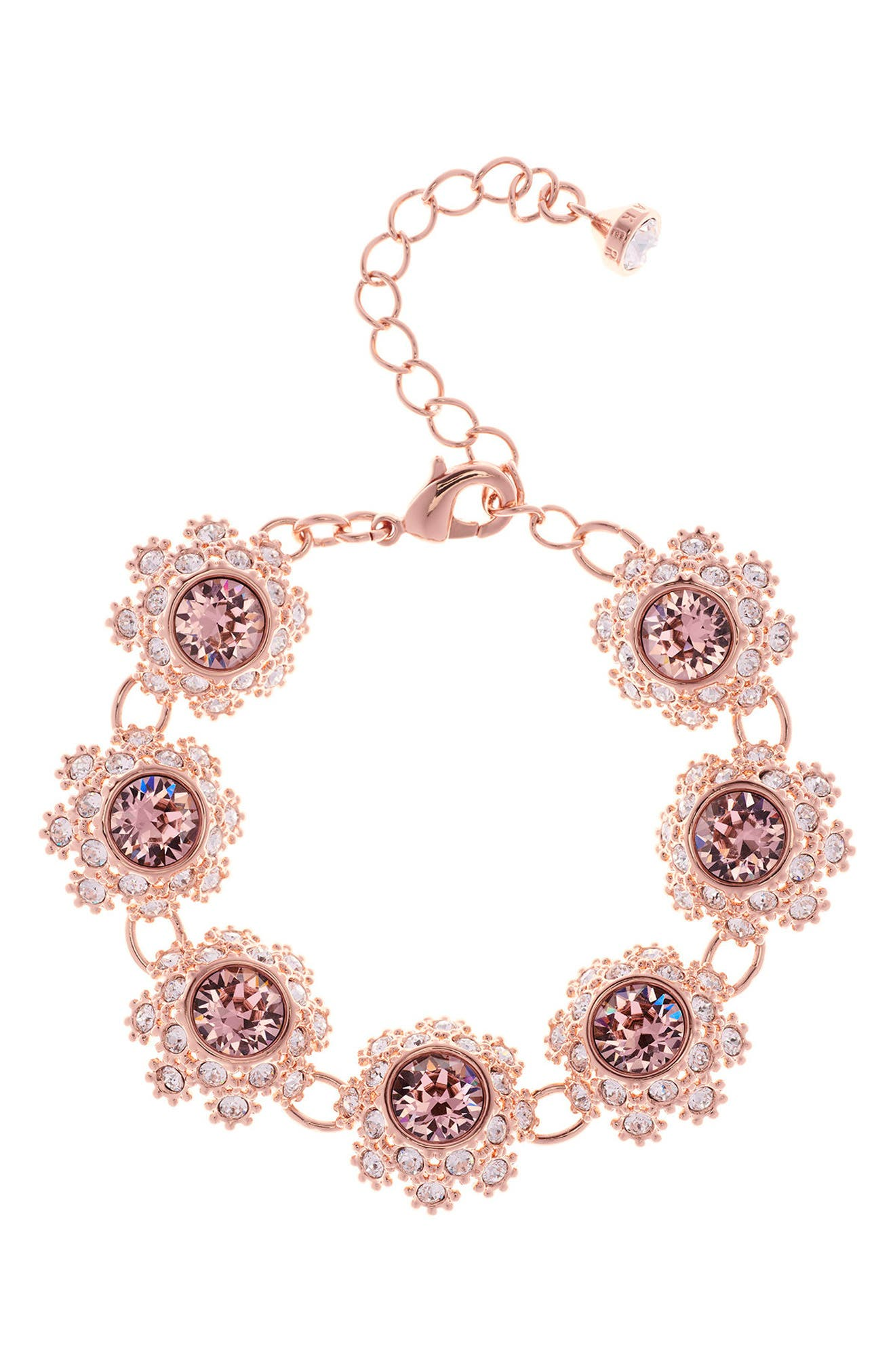 Crystal Daisy Lace Station Bracelet,                             Main thumbnail 1, color,                             Pink