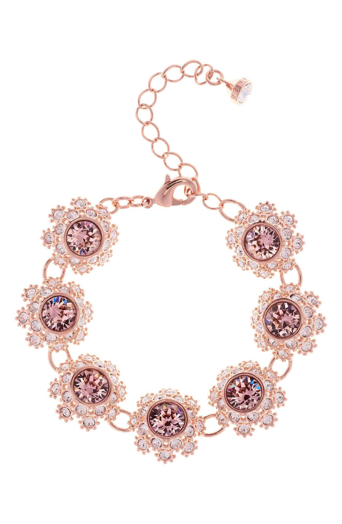 Ted Baker London Crystal Daisy Lace Station Bracelet