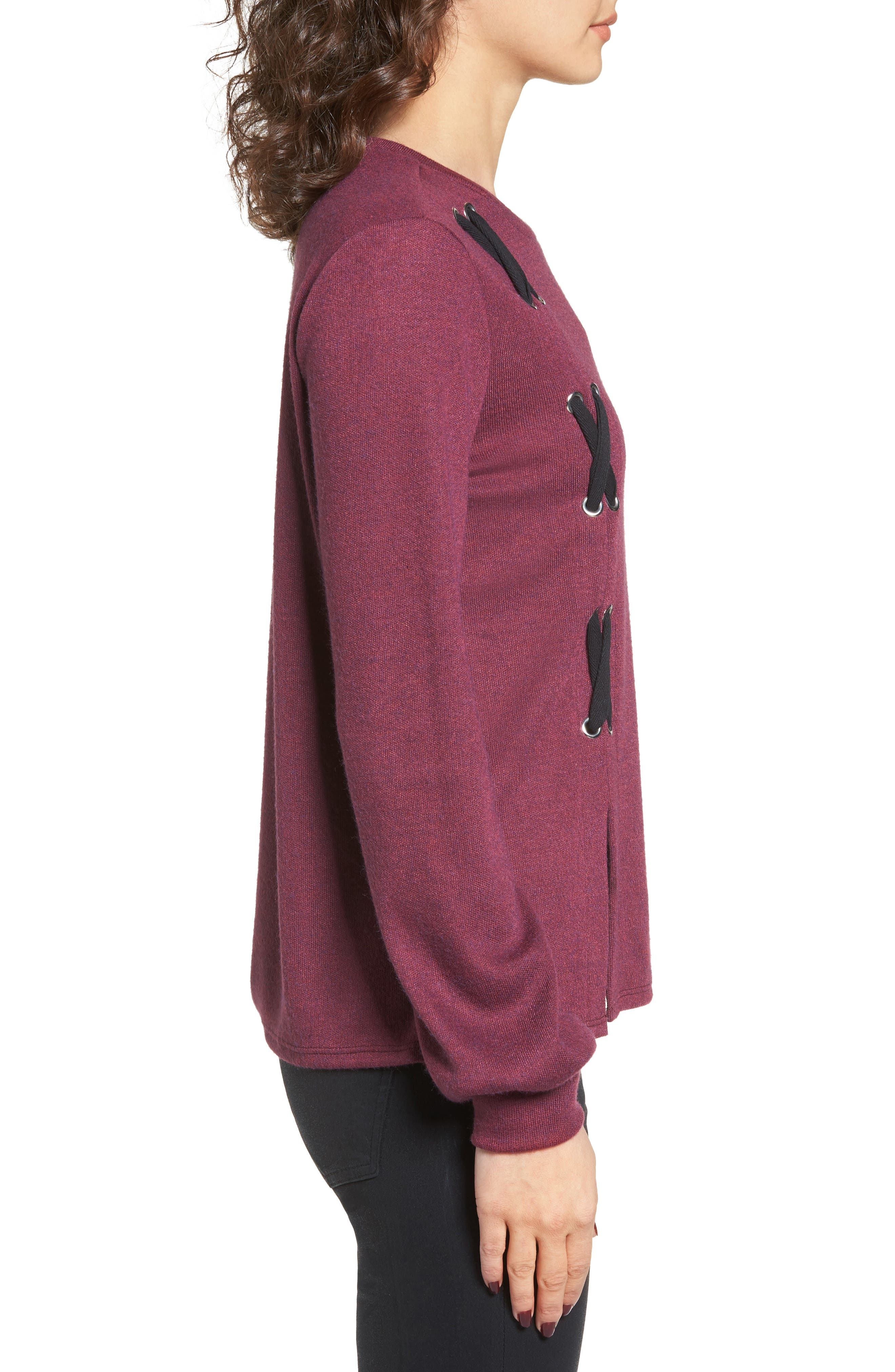Lace-Up Sweater,                             Alternate thumbnail 3, color,                             Burgundy