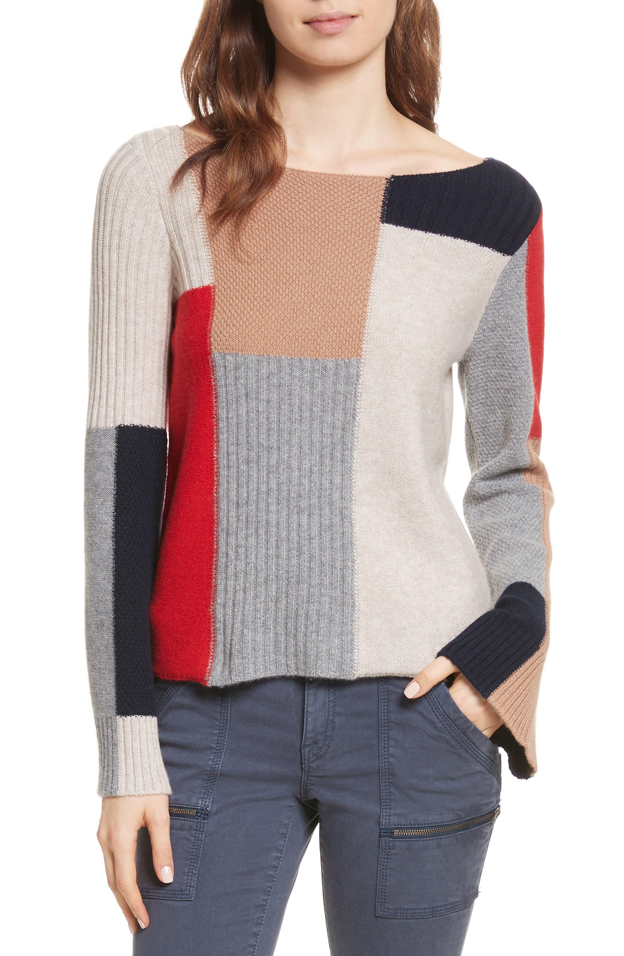 Adene Wool & Cashmere Sweater,                         Main,                         color, Alarm Red Multi
