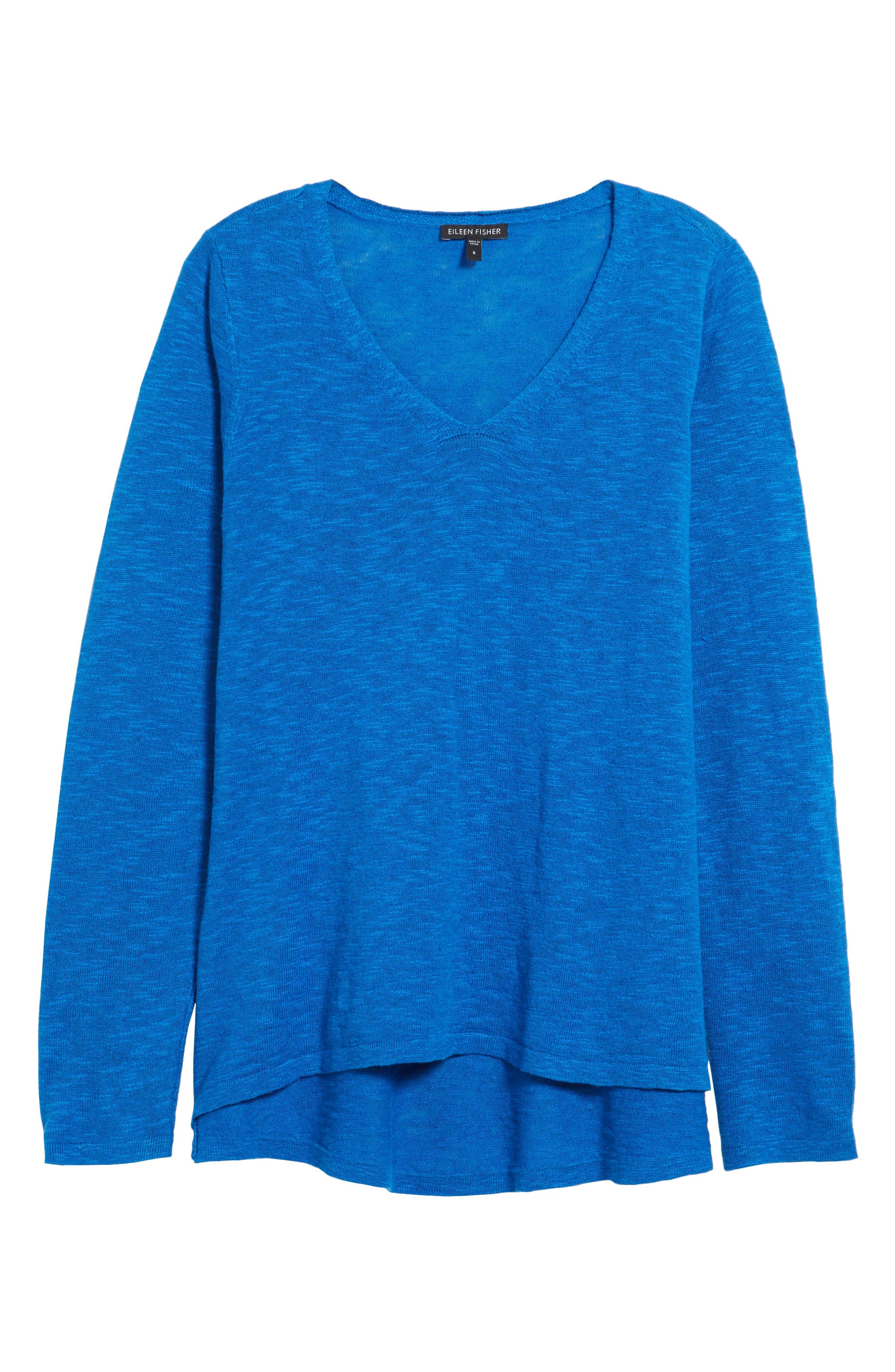 Organic Linen & Cotton V-Neck Sweater,                             Alternate thumbnail 6, color,                             Catalina
