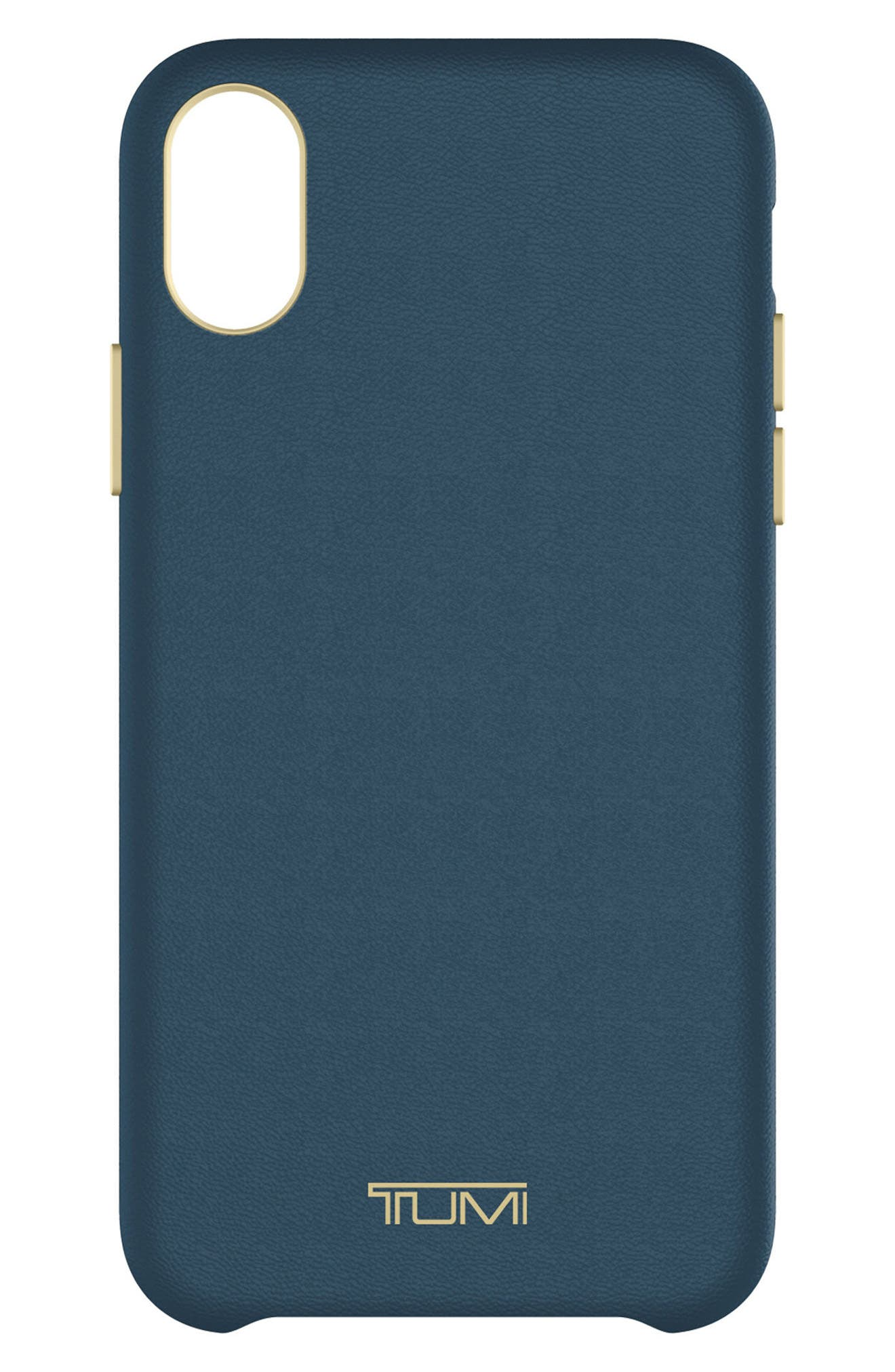 Leather iPhone X Case,                         Main,                         color, Navy