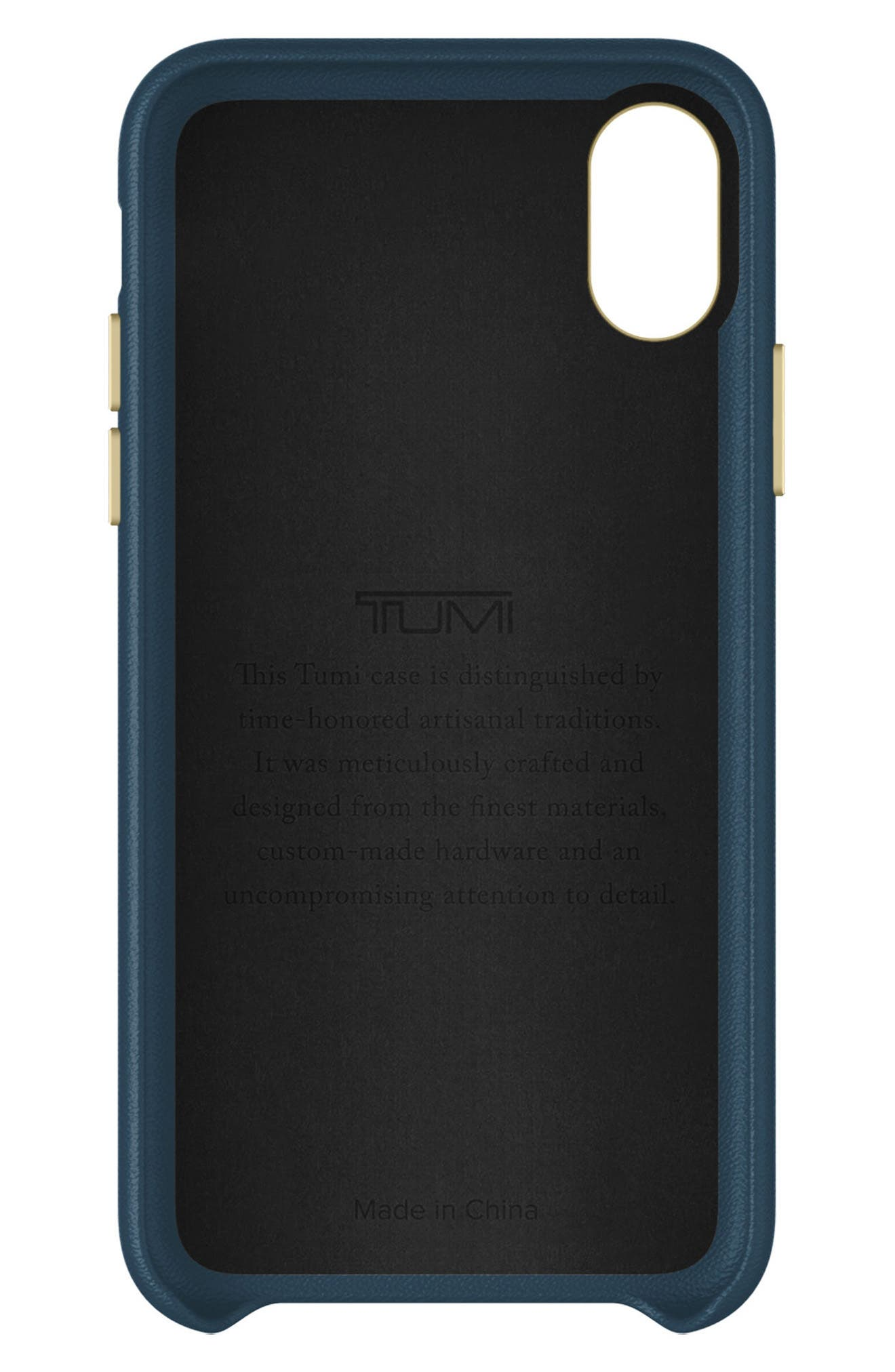 Leather iPhone X Case,                             Alternate thumbnail 2, color,                             Navy