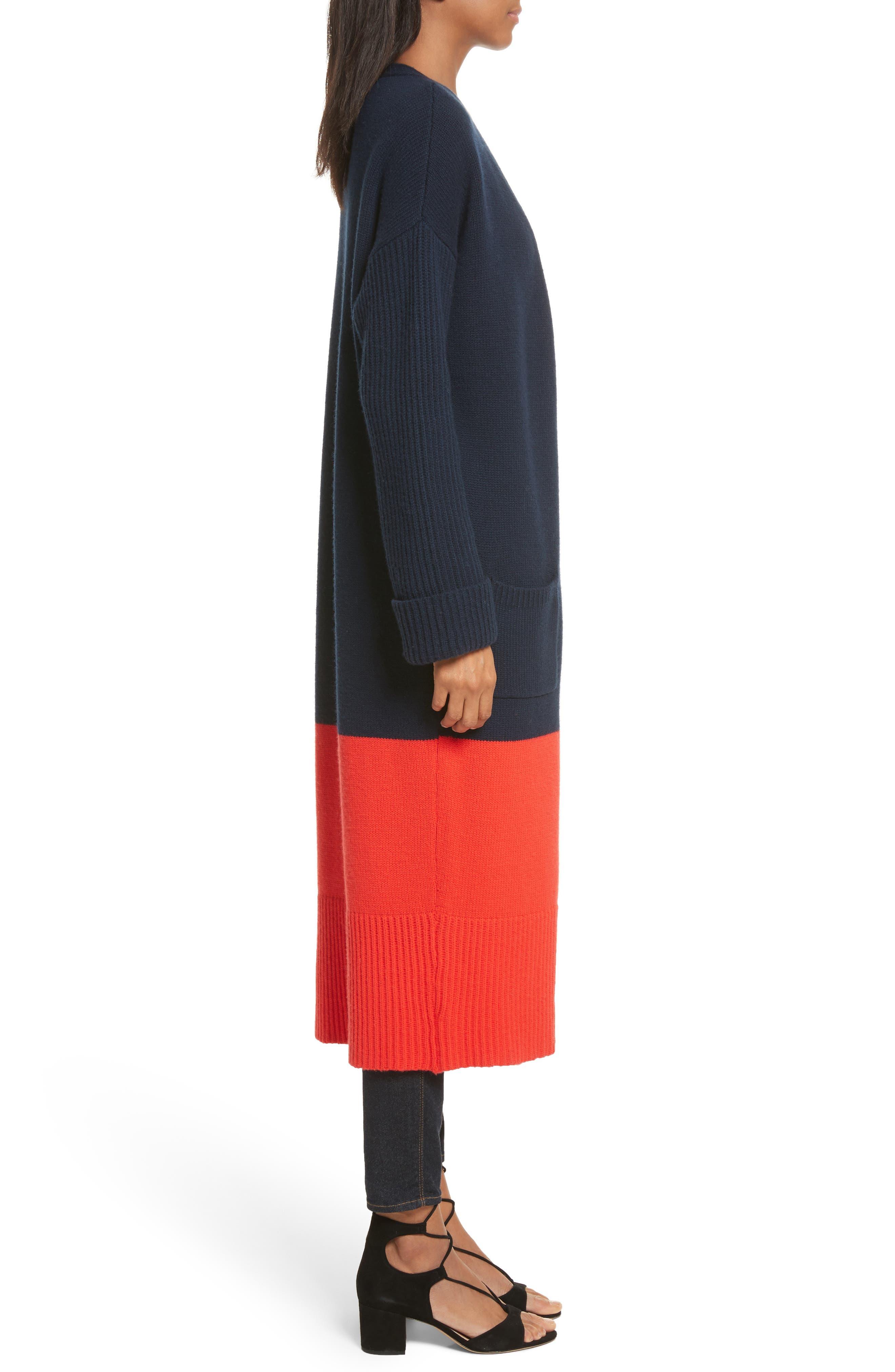 Babur Colorblock Long Wool Cardigan,                             Alternate thumbnail 3, color,                             Navy W/ Red