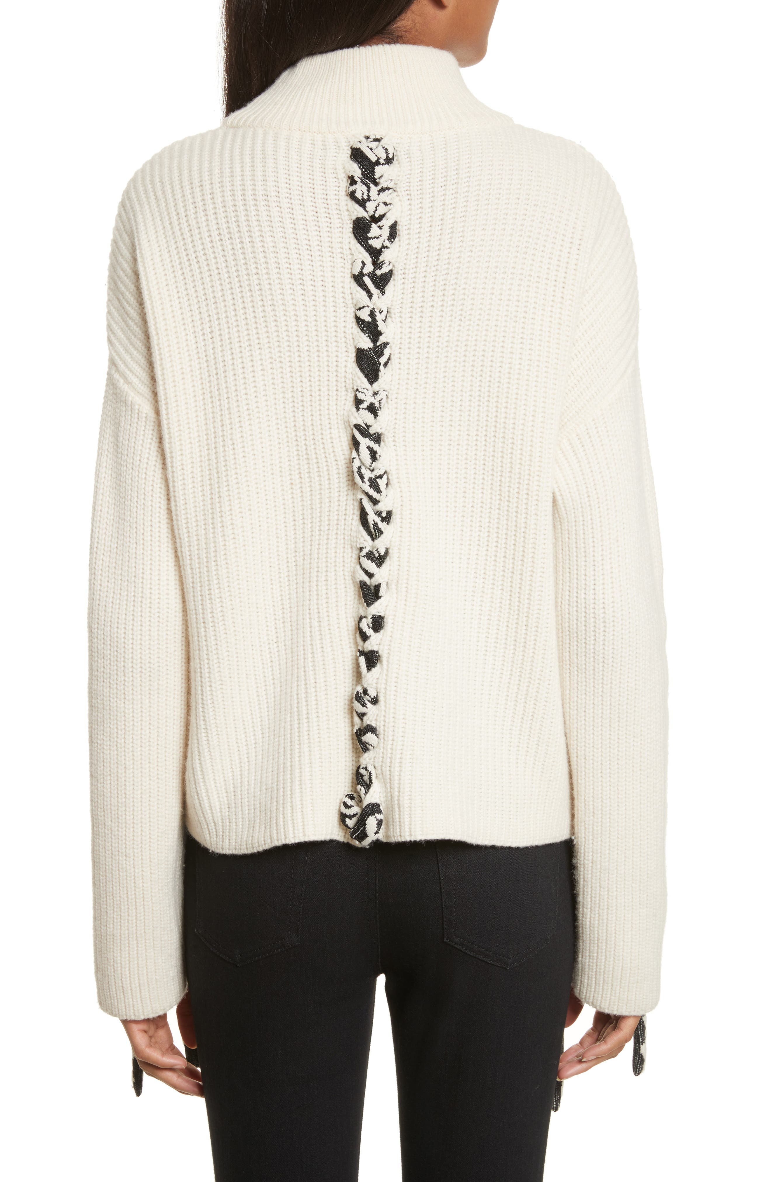 Mughal Lace-Up Sweater,                             Alternate thumbnail 2, color,                             Off White W/ Jacquard Ties