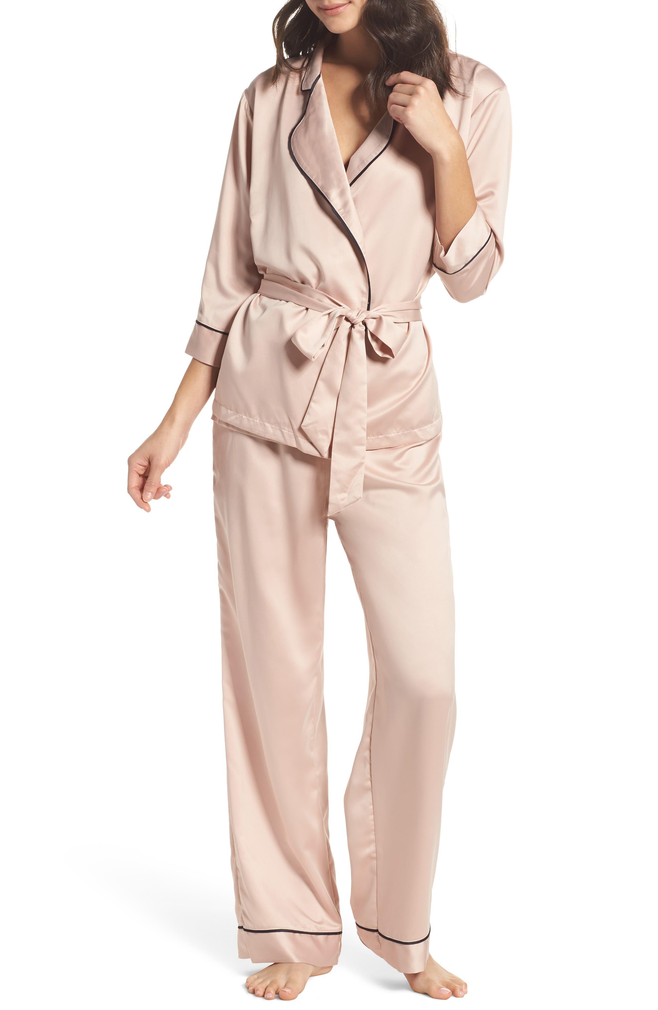 Wren Satin Pajamas,                         Main,                         color, Pink