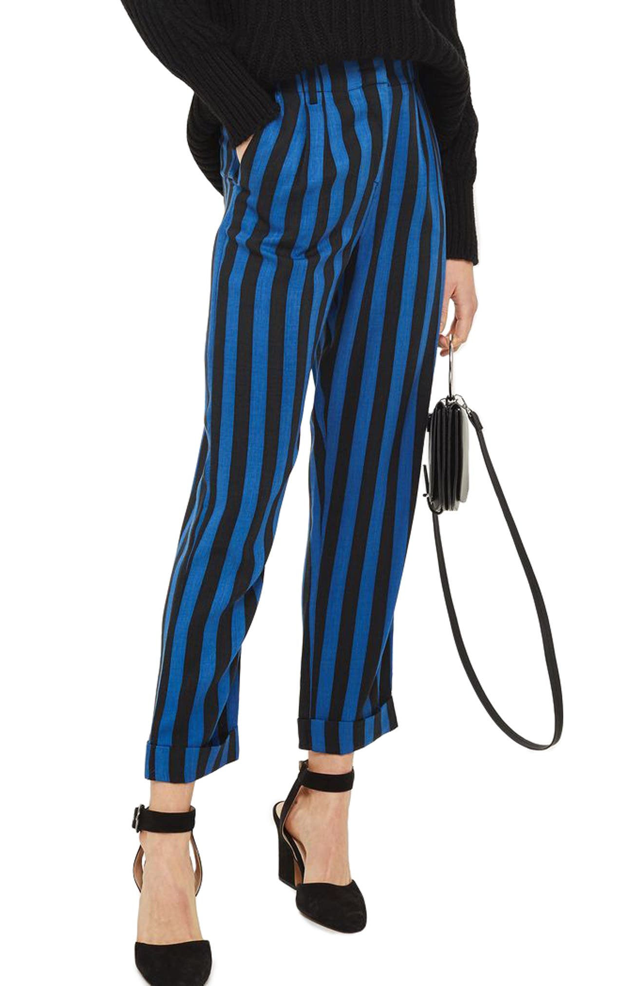 Topshop Humbug Stripe Crop Trousers