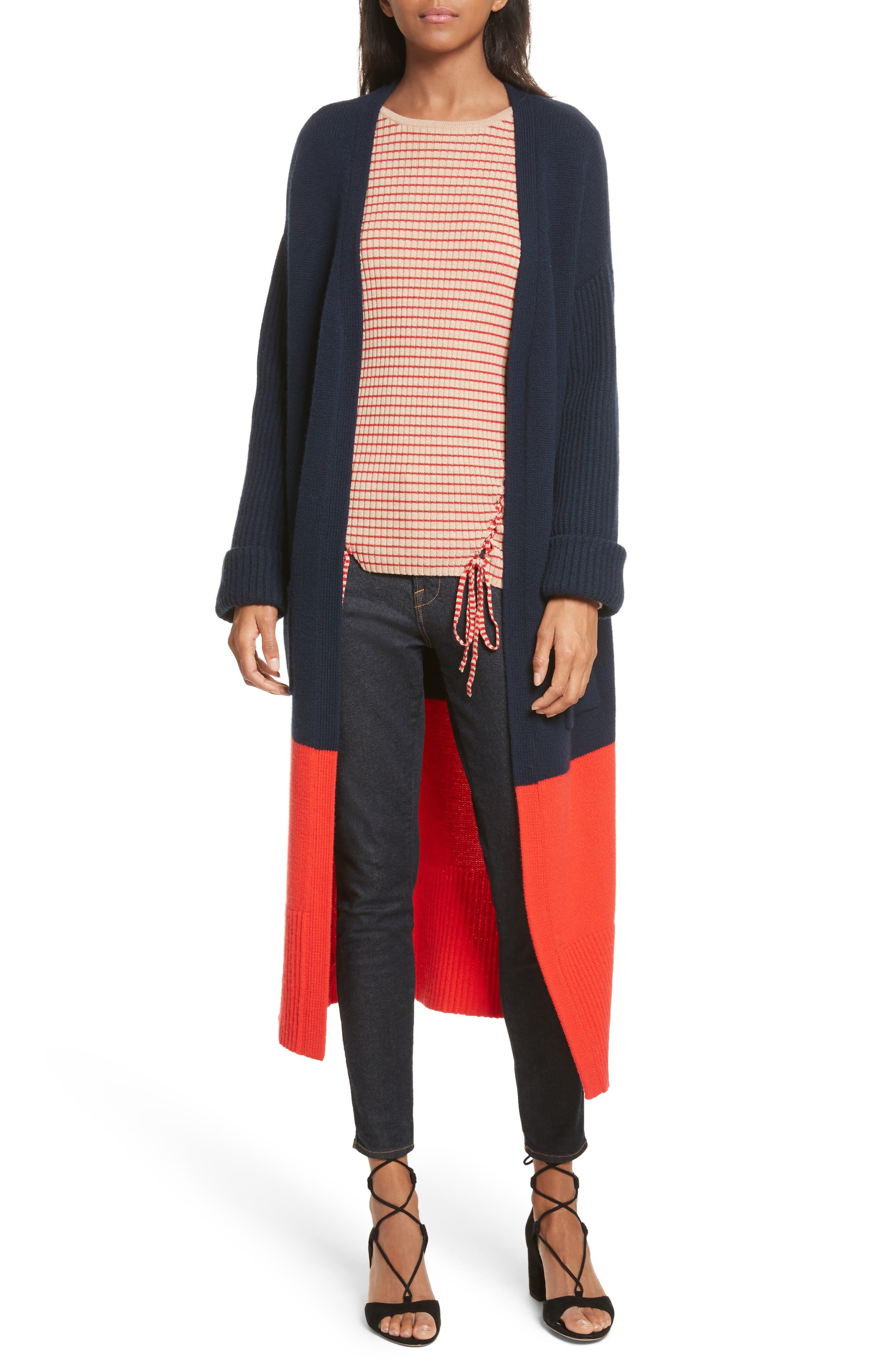Babur Colorblock Long Wool Cardigan,                         Main,                         color, Navy W/ Red