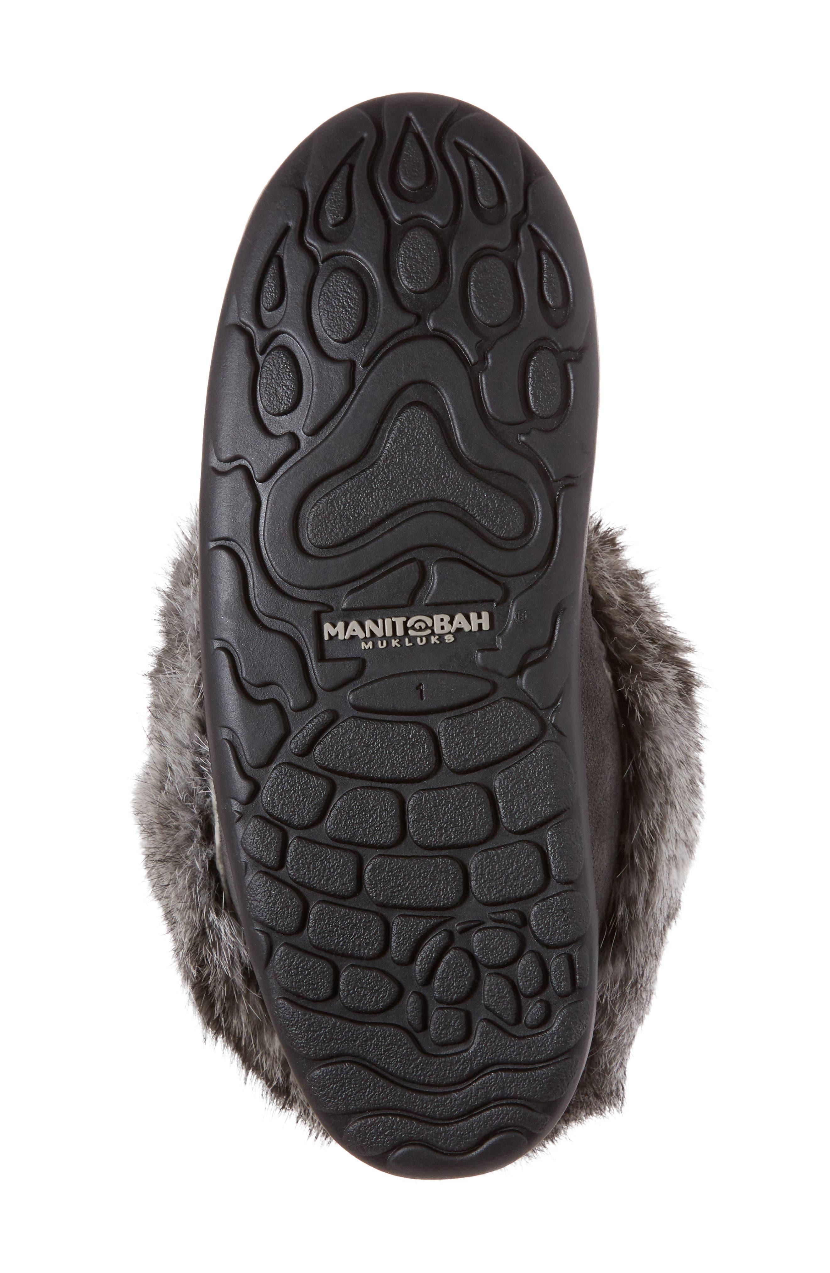 Nordic Genuine Rabbit Fur & Genuine Shearling Mukluk Boot,                             Alternate thumbnail 6, color,                             Charcoal