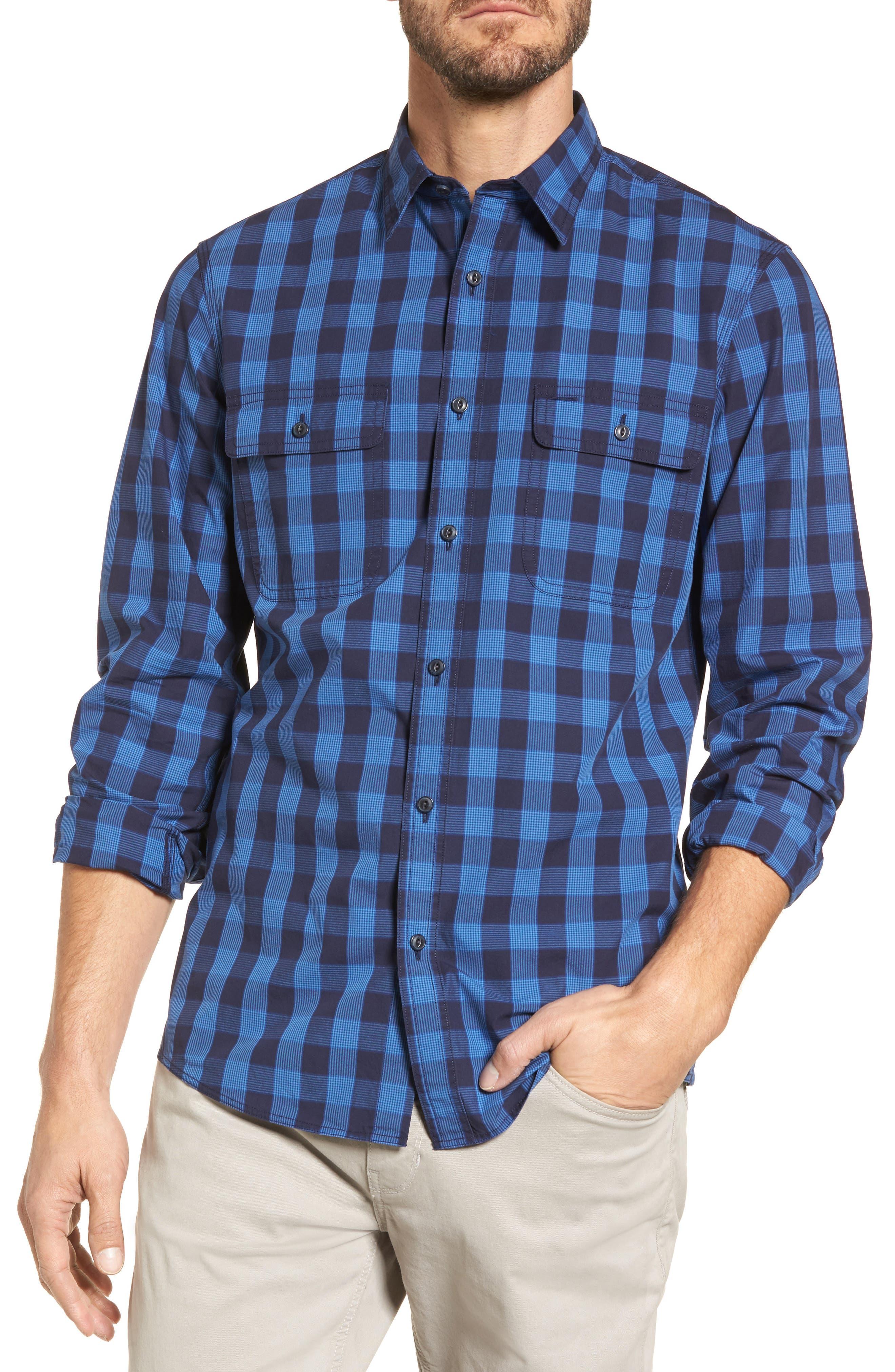 Trim Fit Plaid Trucker Sport Shirt,                         Main,                         color, Navy Iris Blue Check