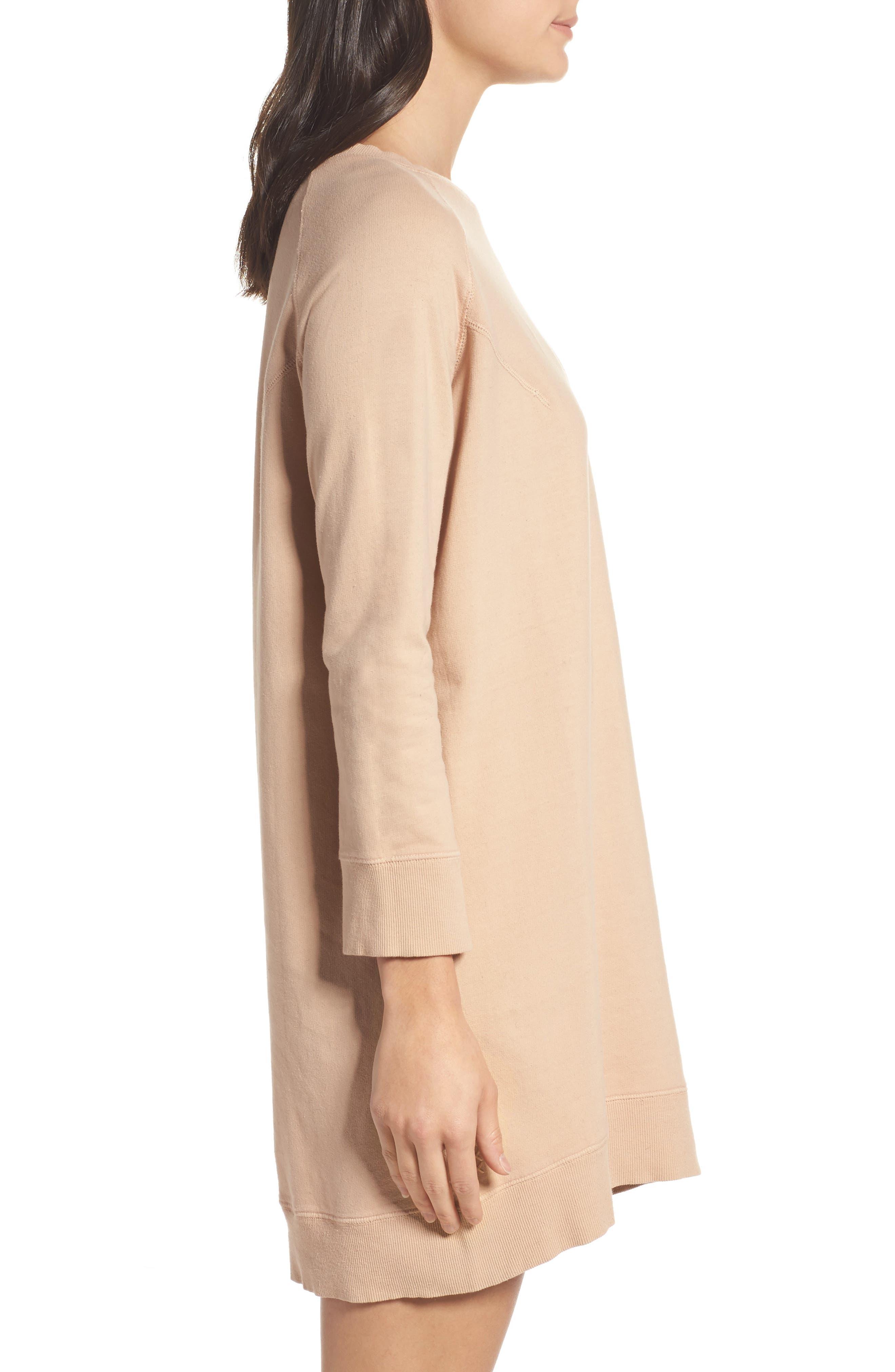 Sweatshirt Dress,                             Alternate thumbnail 3, color,                             Nude