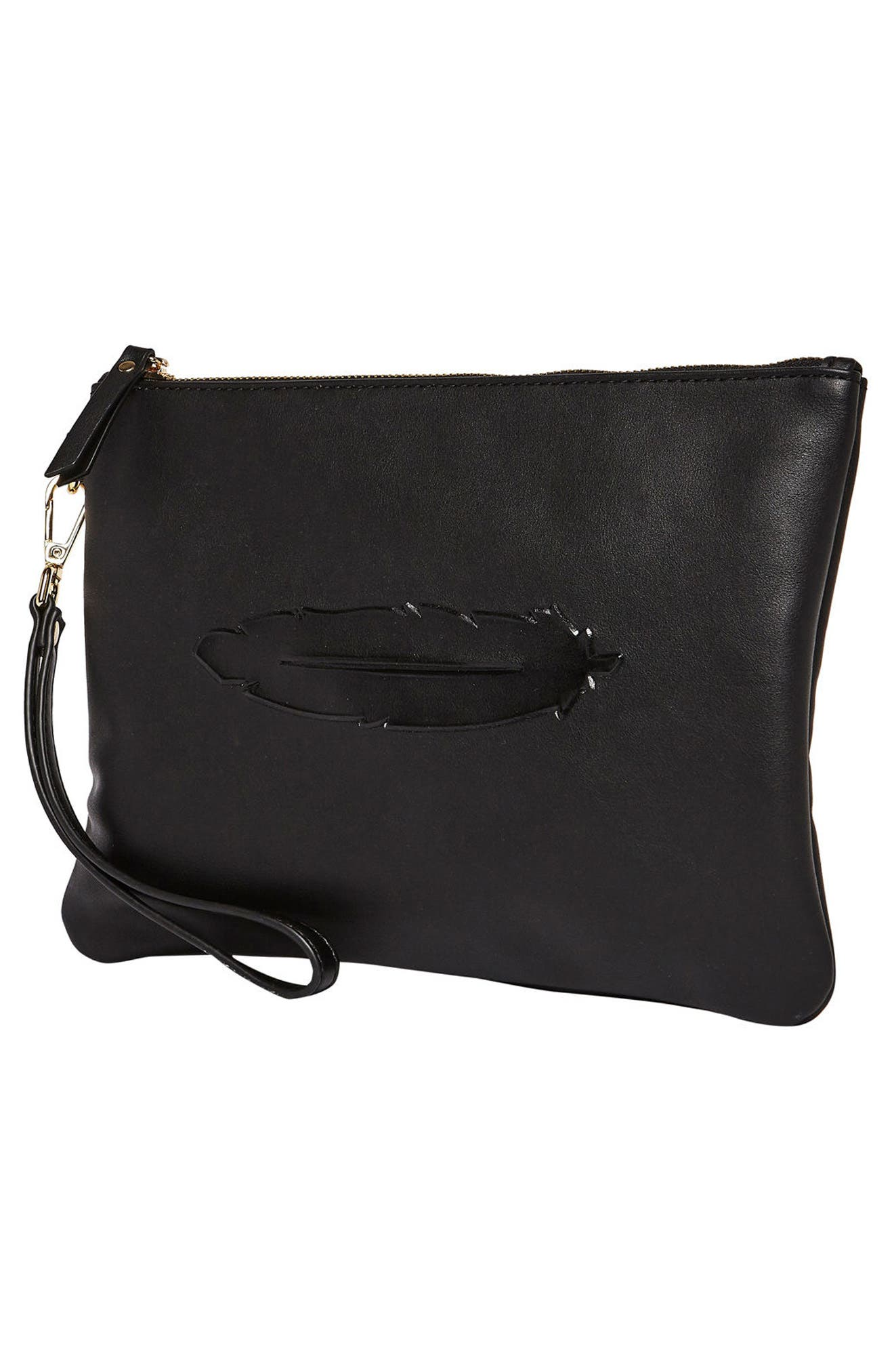 Clutch to Dream Vegan Leather Clutch,                             Alternate thumbnail 2, color,                             Black