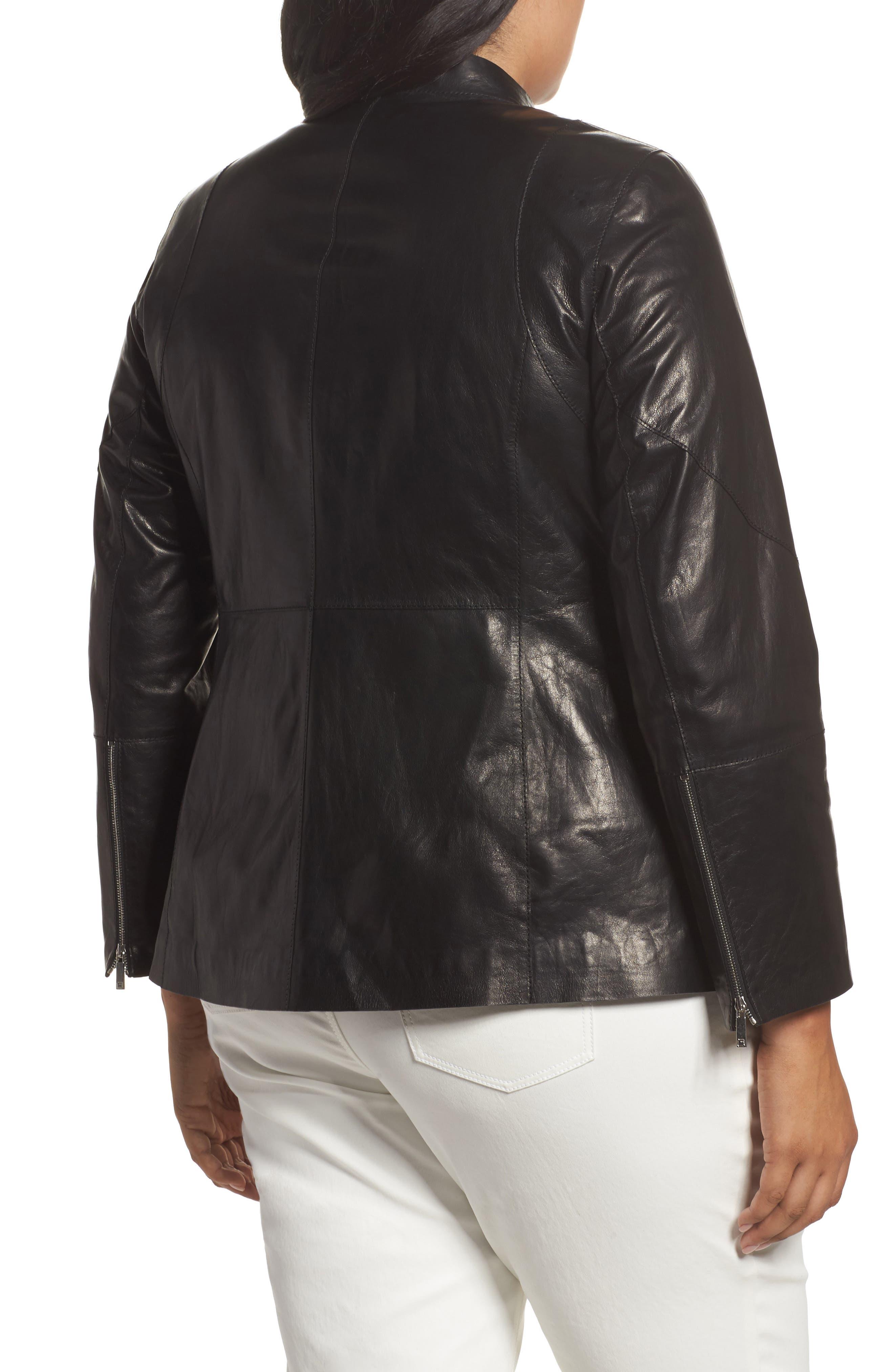 Presley Moto Leather Jacket,                             Alternate thumbnail 2, color,                             Black