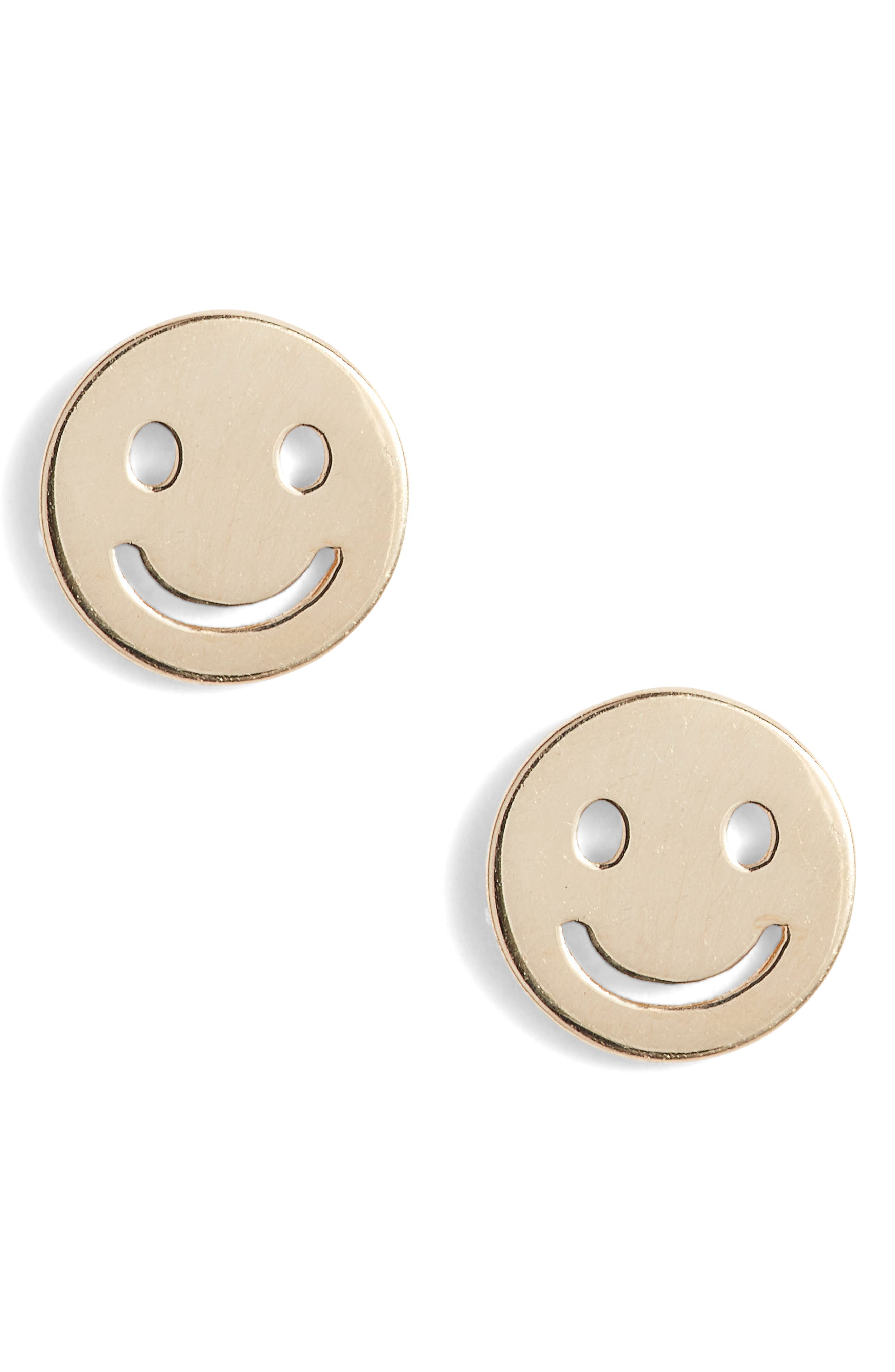 Smiley Face Stud Earrings,                         Main,                         color, Yellow Gold