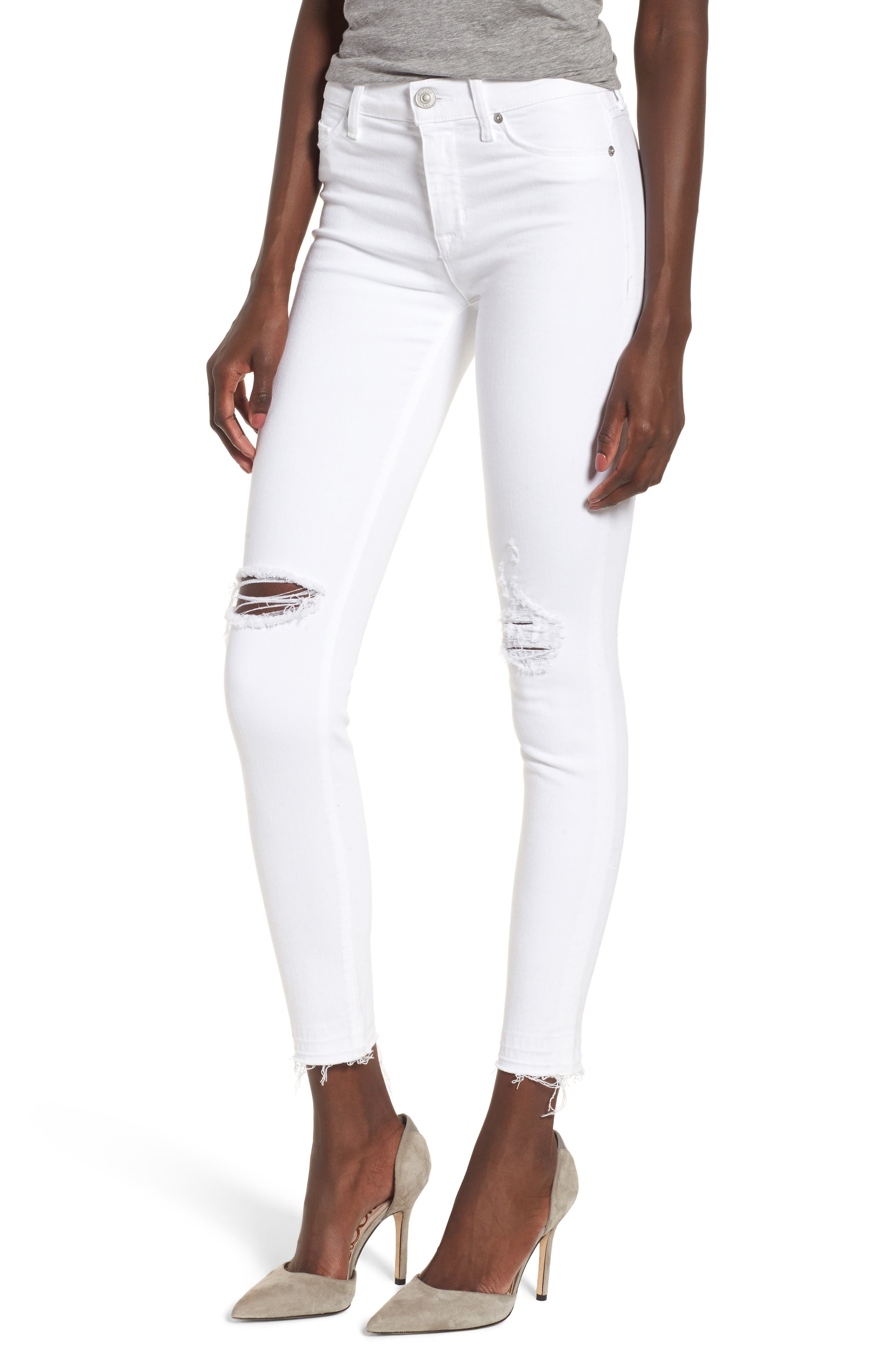 Nico Ankle Super Skinny Jeans,                             Main thumbnail 1, color,                             Optical White Destructed