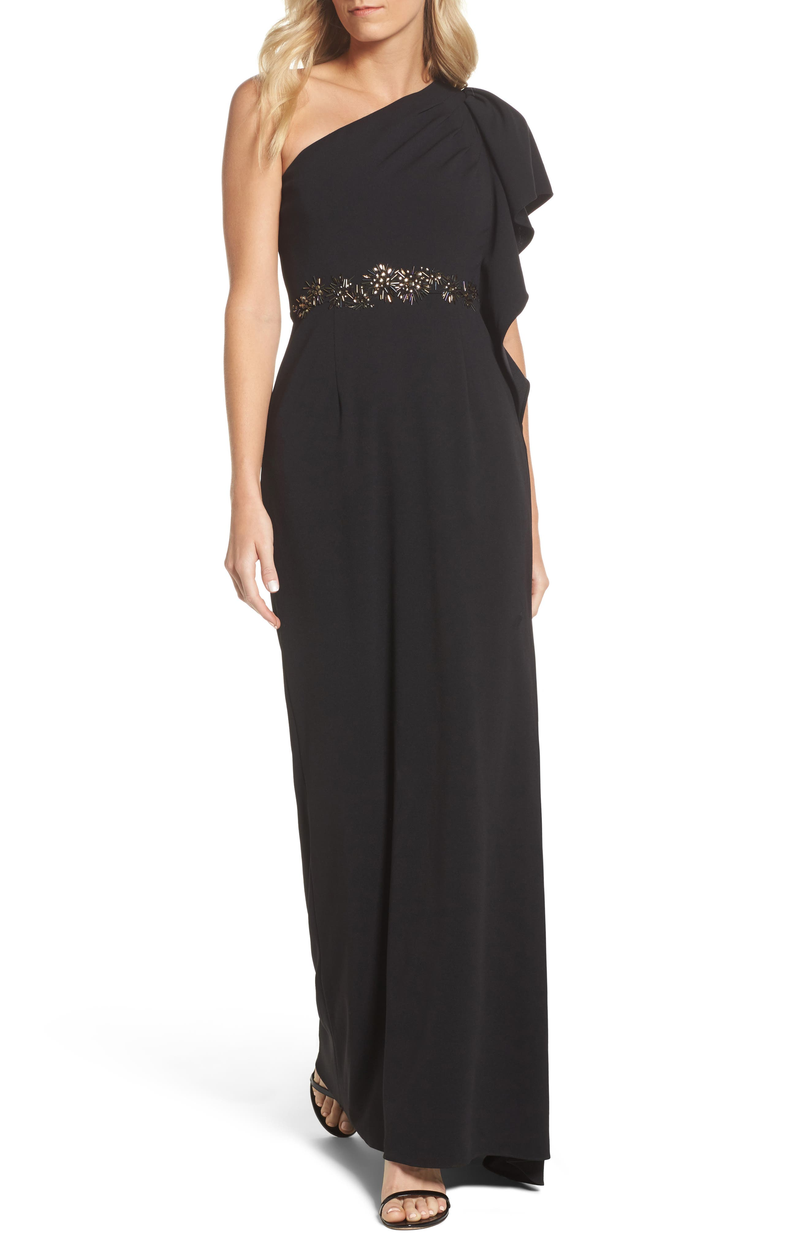 Beaded One-Shoulder Crepe Gown,                         Main,                         color, Black