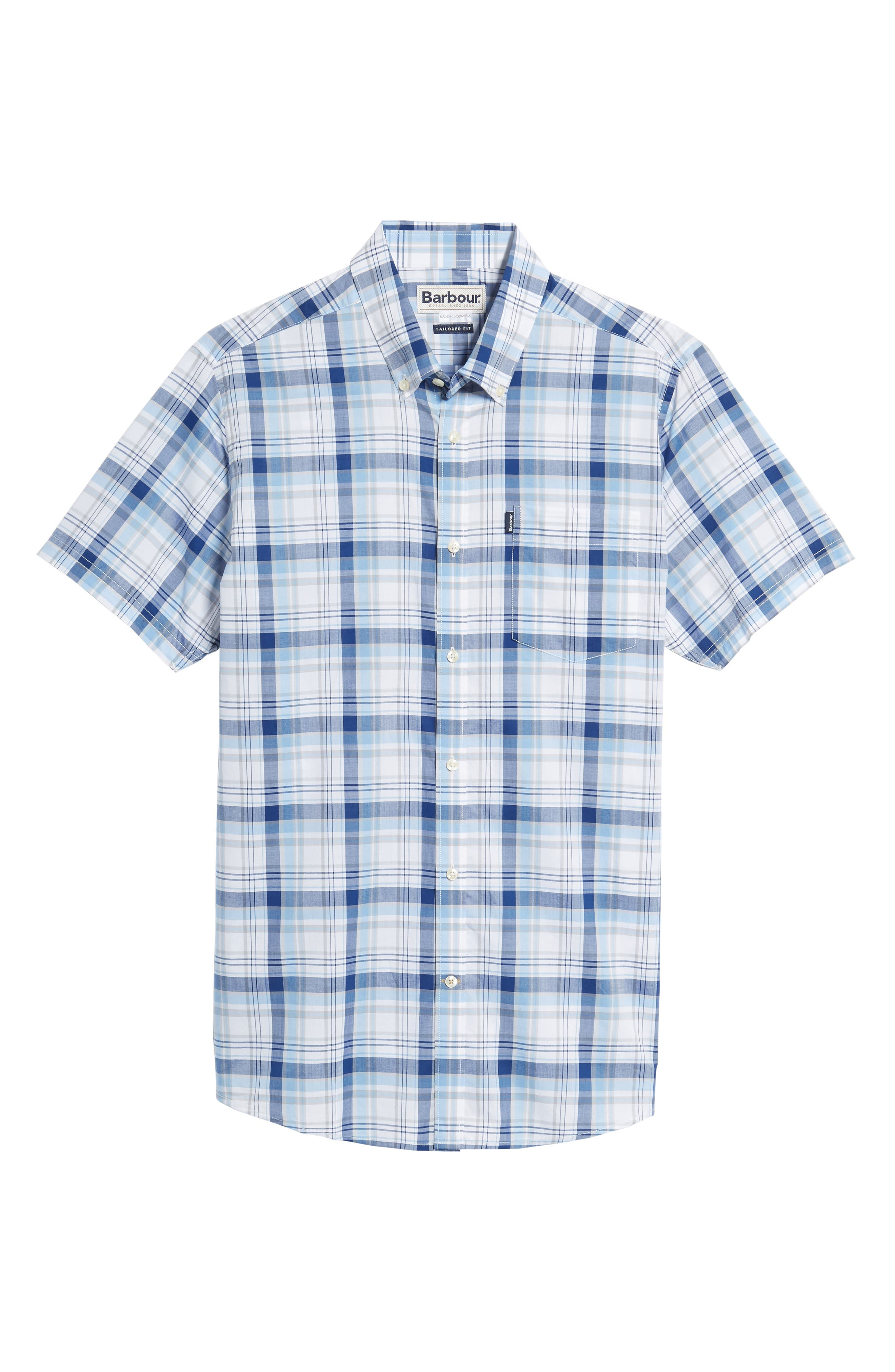 Gerald Tailored Fit Plaid Sport Shirt,                             Alternate thumbnail 6, color,                             Blue