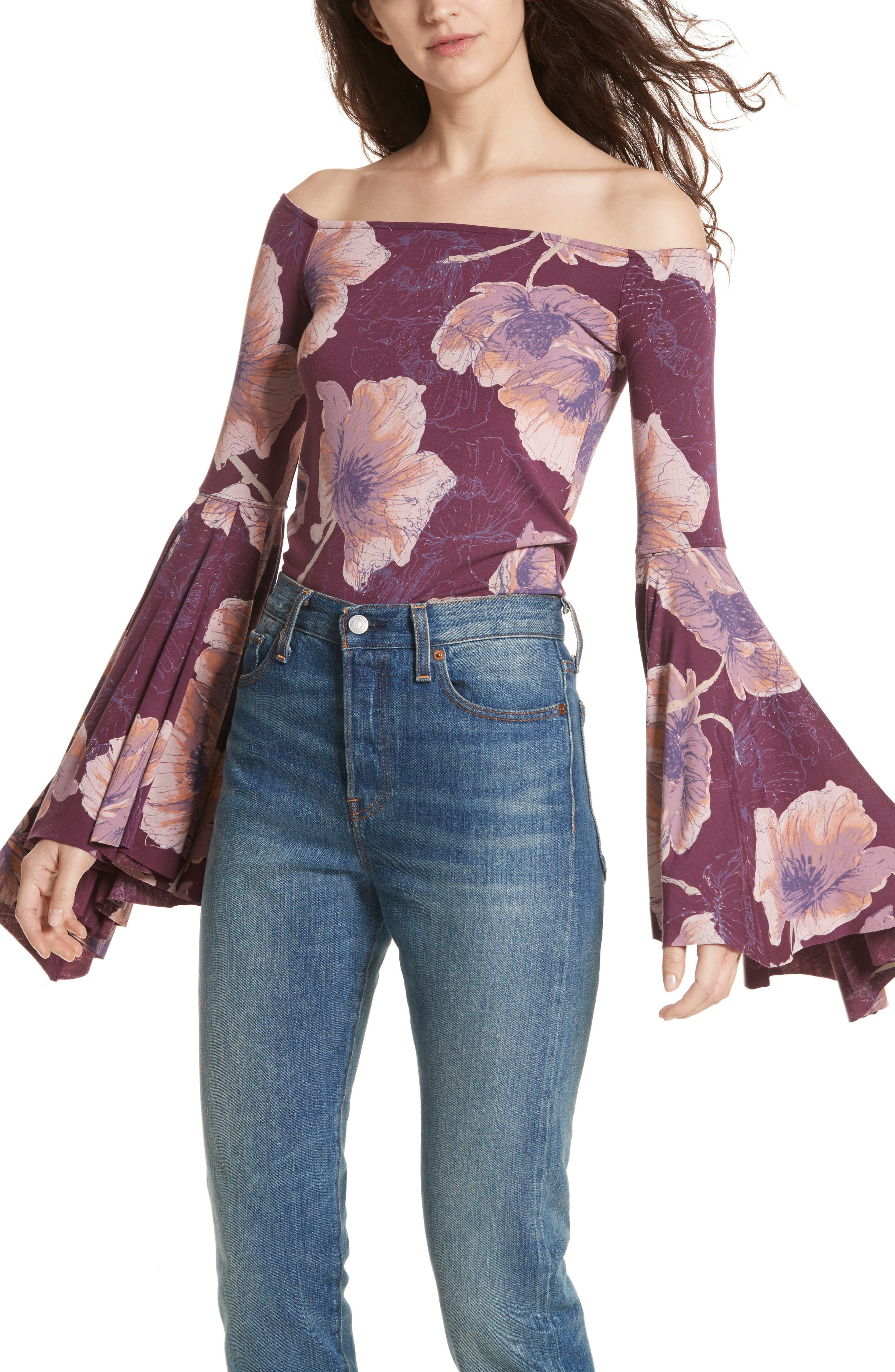 Birds of Paradise Print Off the Shoulder Top,                             Main thumbnail 1, color,                             Wine