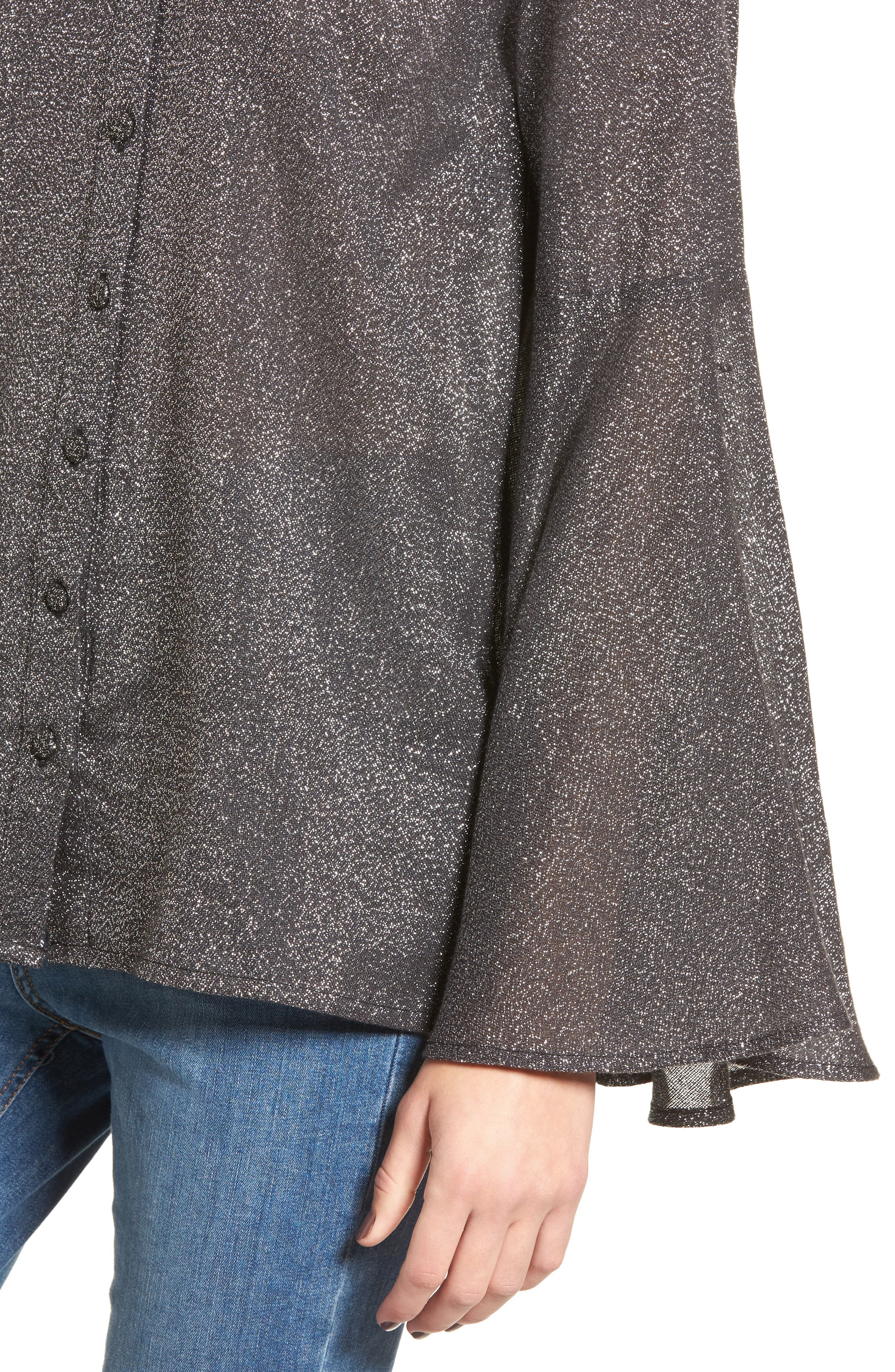 Alternate Image 5  - LOST INK Sparkly Bell Sleeve Shirt