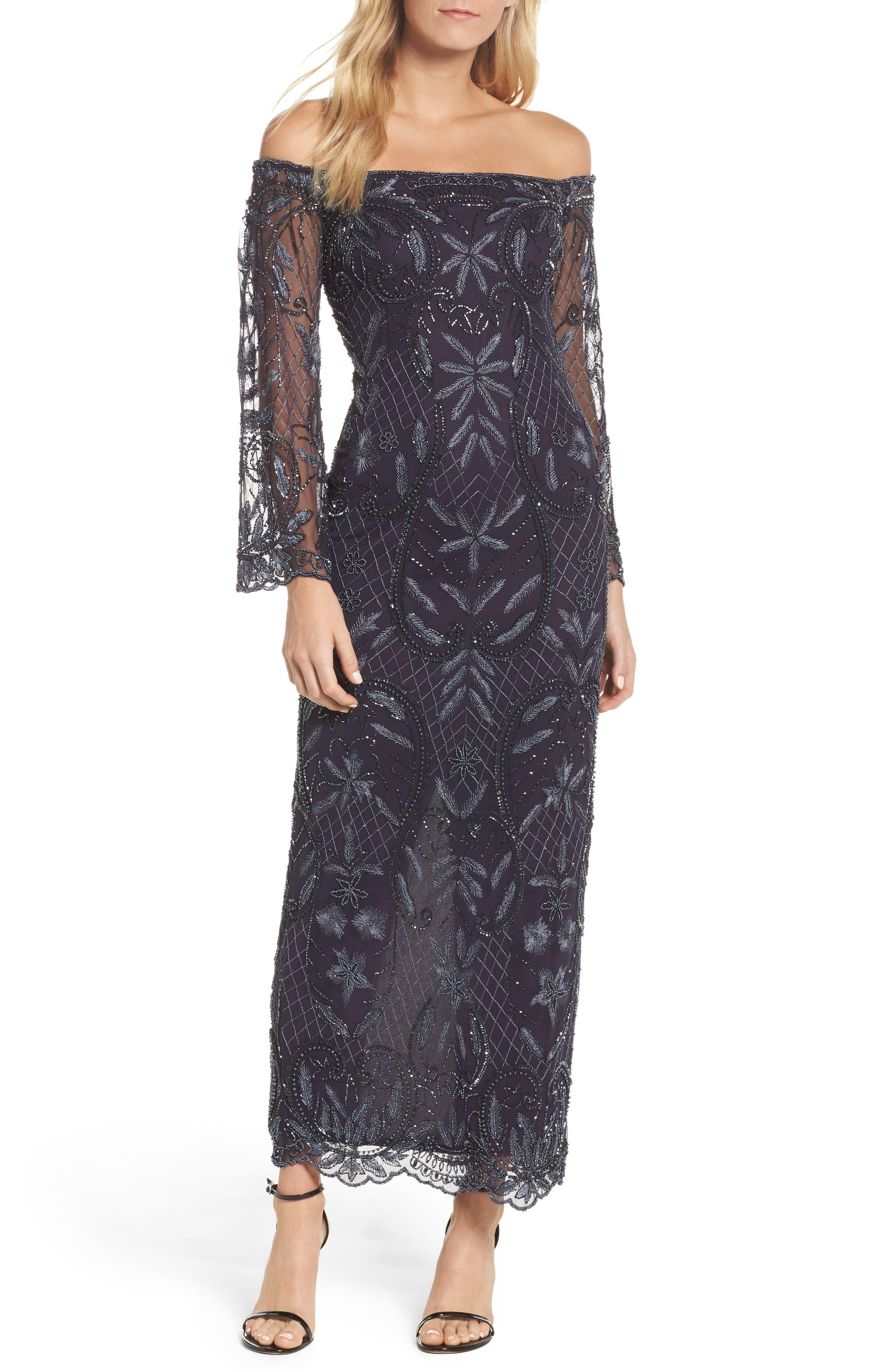 Embellished Off the Shoulder Column Gown,                         Main,                         color, Slate
