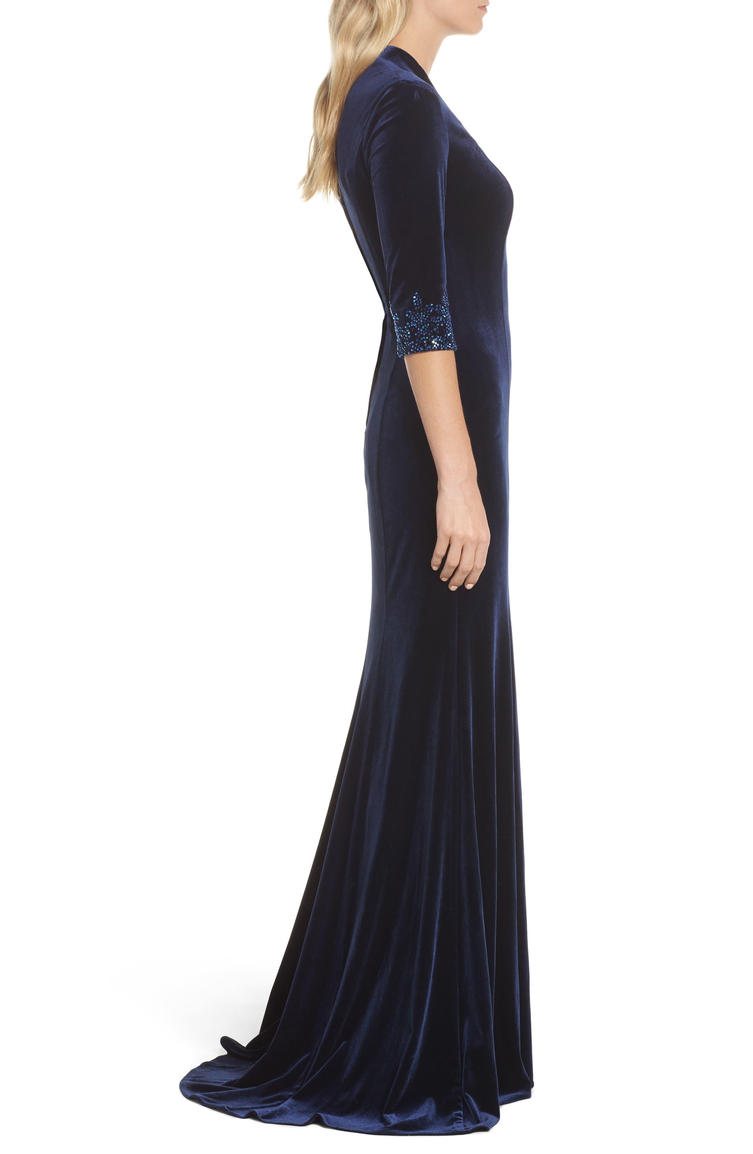Velvet Gown,                             Alternate thumbnail 3, color,                             Navy