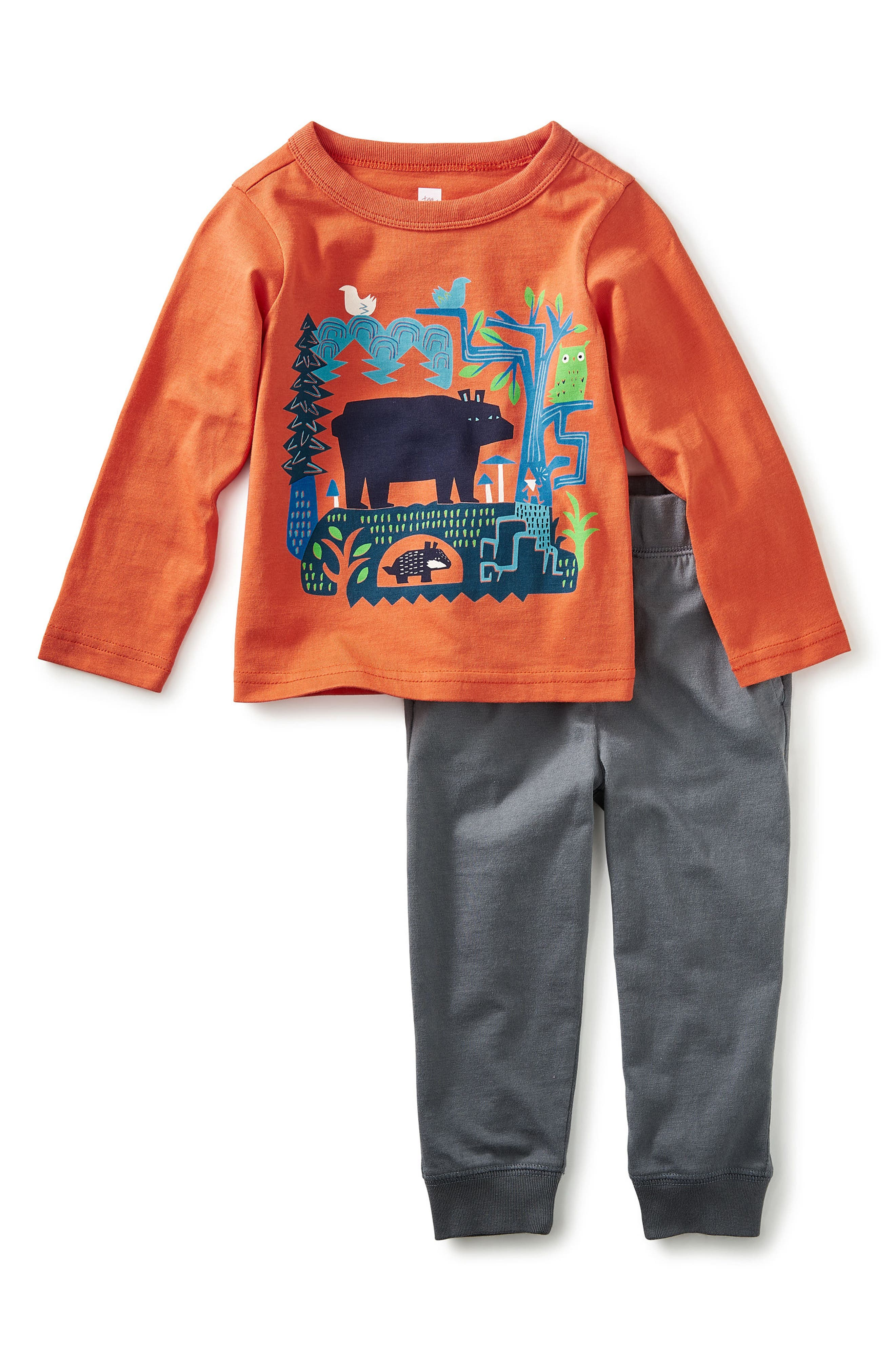 Alternate Image 1 Selected - Tea Collection Bear Tale Graphic T-Shirt & Sweatpants Set (Baby Boys & Toddler Boys)