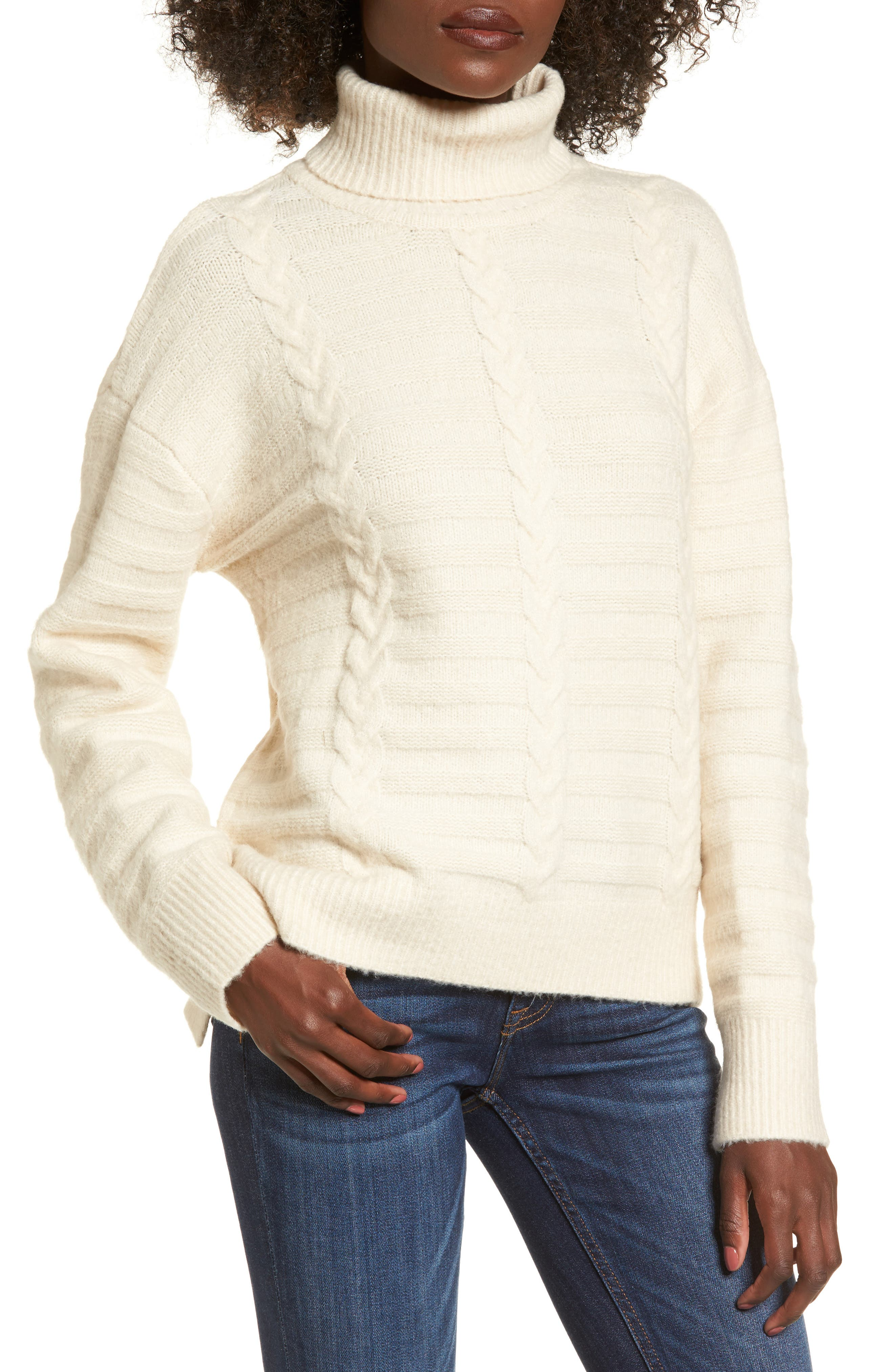 Turtleneck Sweater,                         Main,                         color, Ivory
