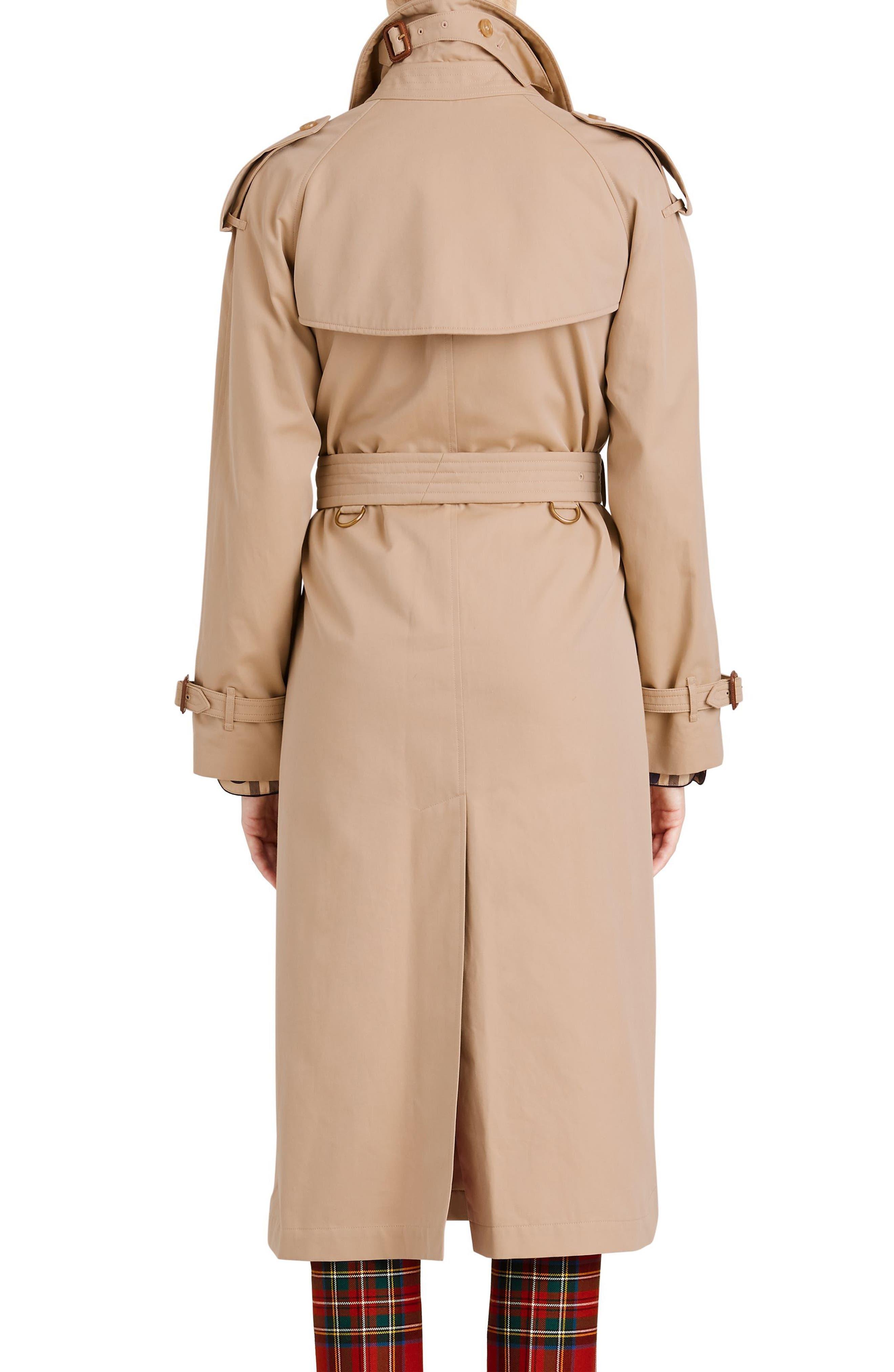 Eastheath Bird Button Cotton Trench Coat,                             Alternate thumbnail 2, color,                             Honey