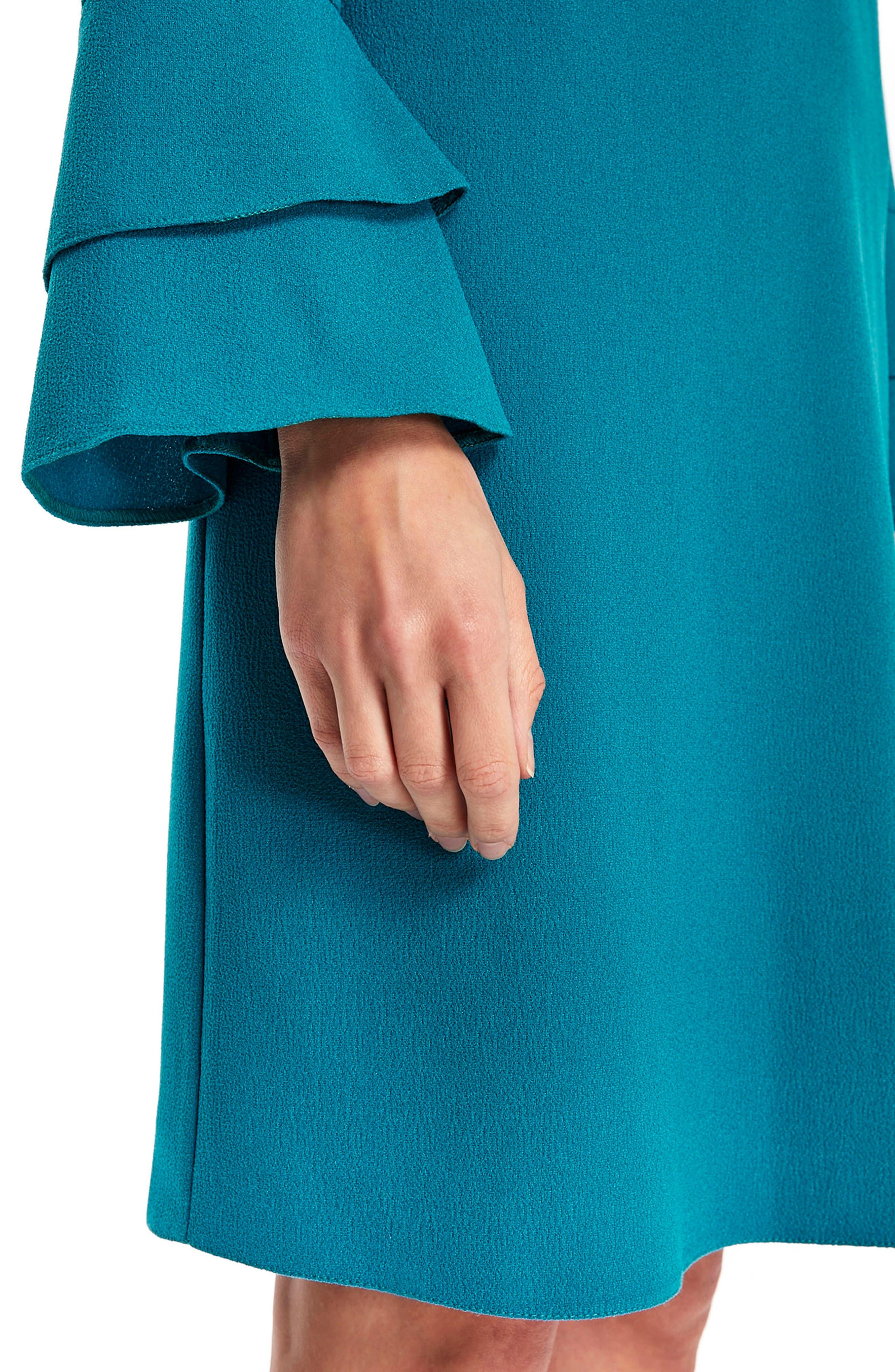 Bell Sleeve Shift Dress,                             Alternate thumbnail 4, color,                             Teal