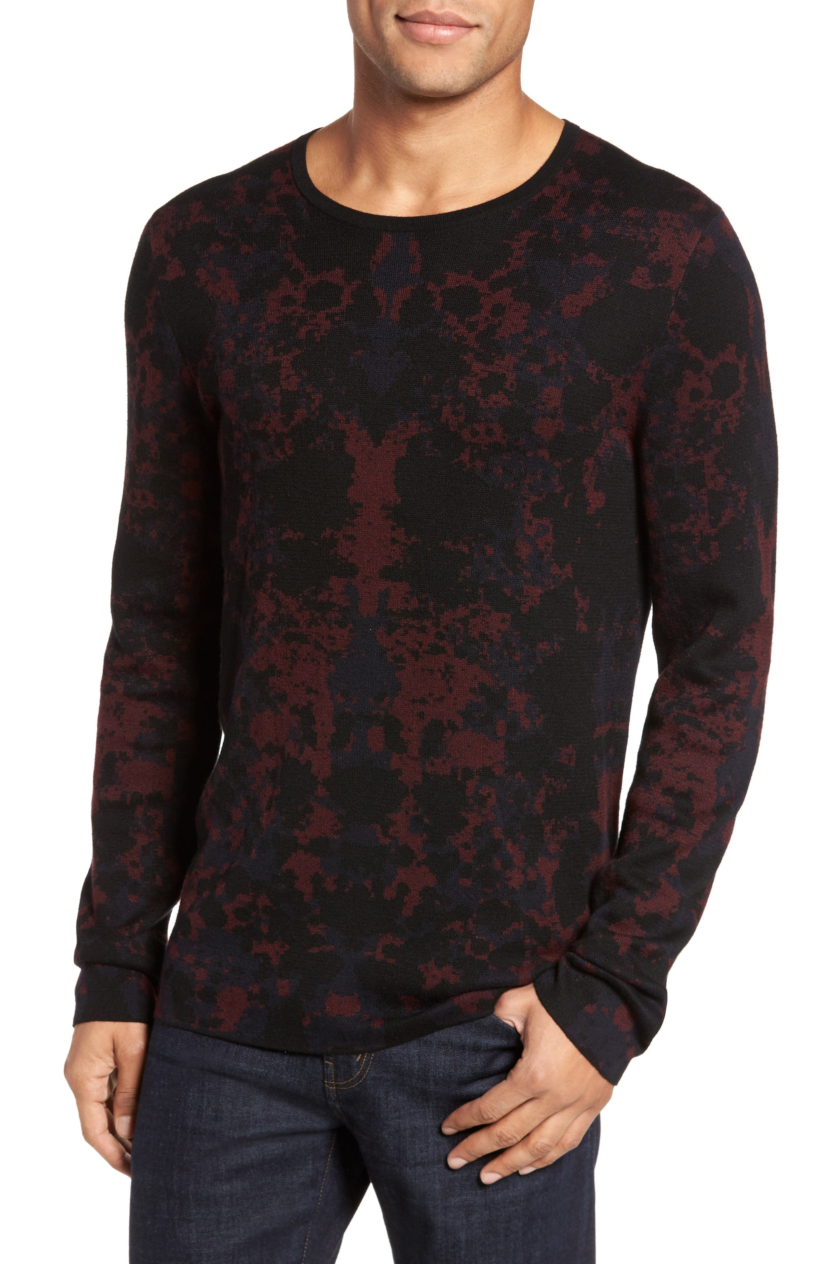 HUGO Sorach Print Slim Fit Sweater,                         Main,                         color, Red