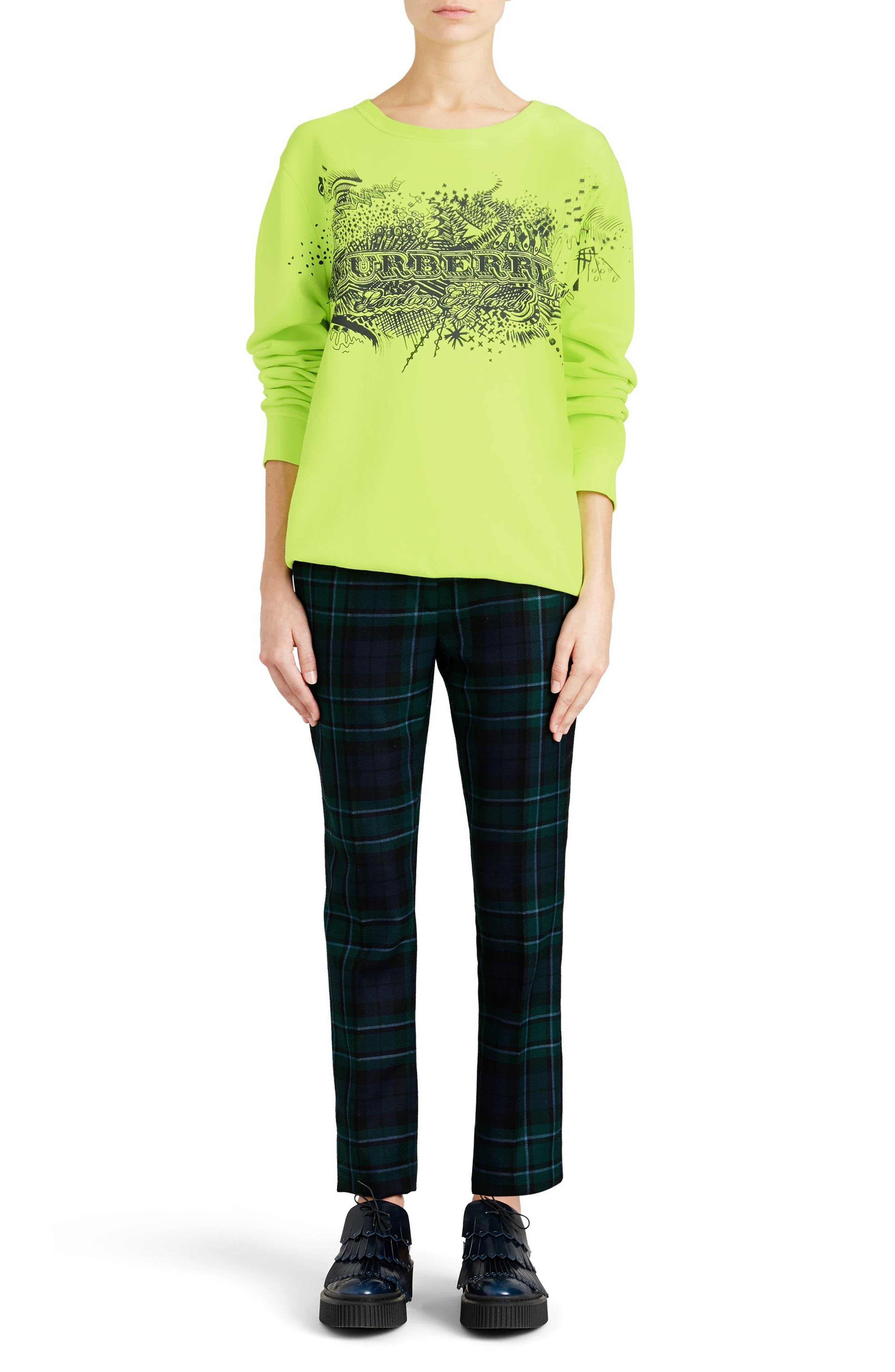 Sauer Doodle Print Cotton Sweatshirt,                             Alternate thumbnail 6, color,                             Fluorescent Yellow