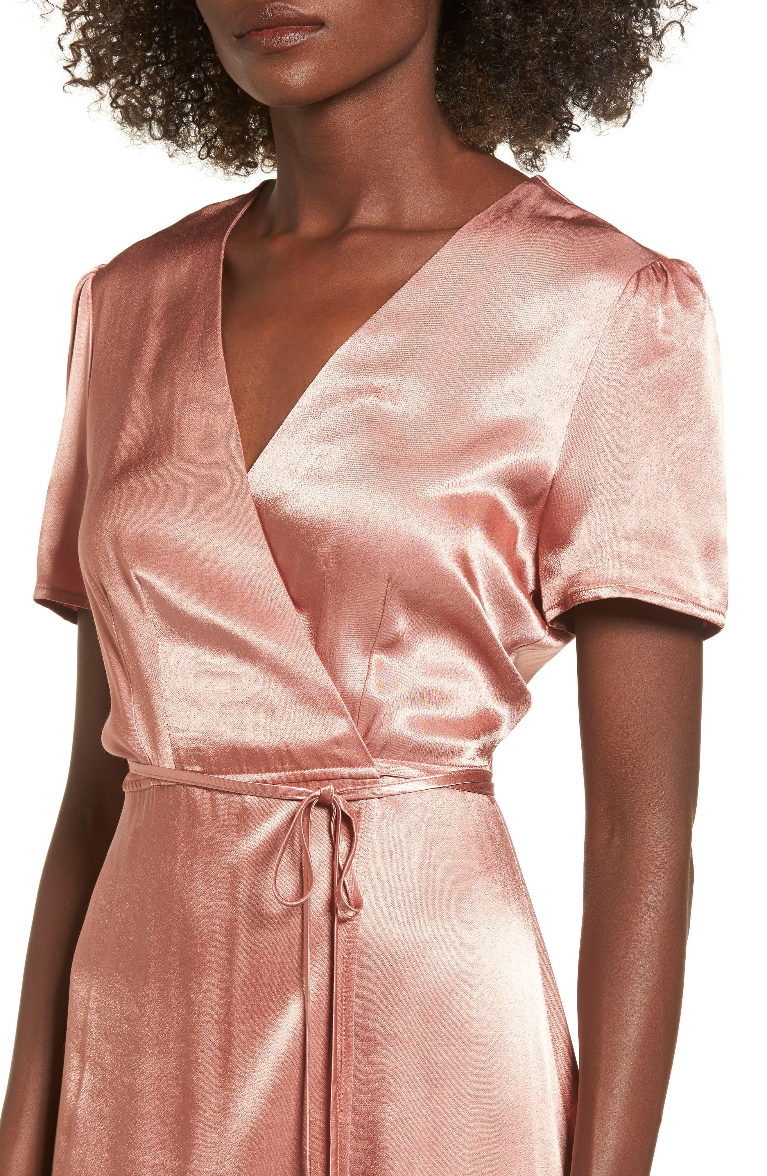 Gwyneth Wrap Maxi Dress,                             Alternate thumbnail 4, color,                             Dusty Rose