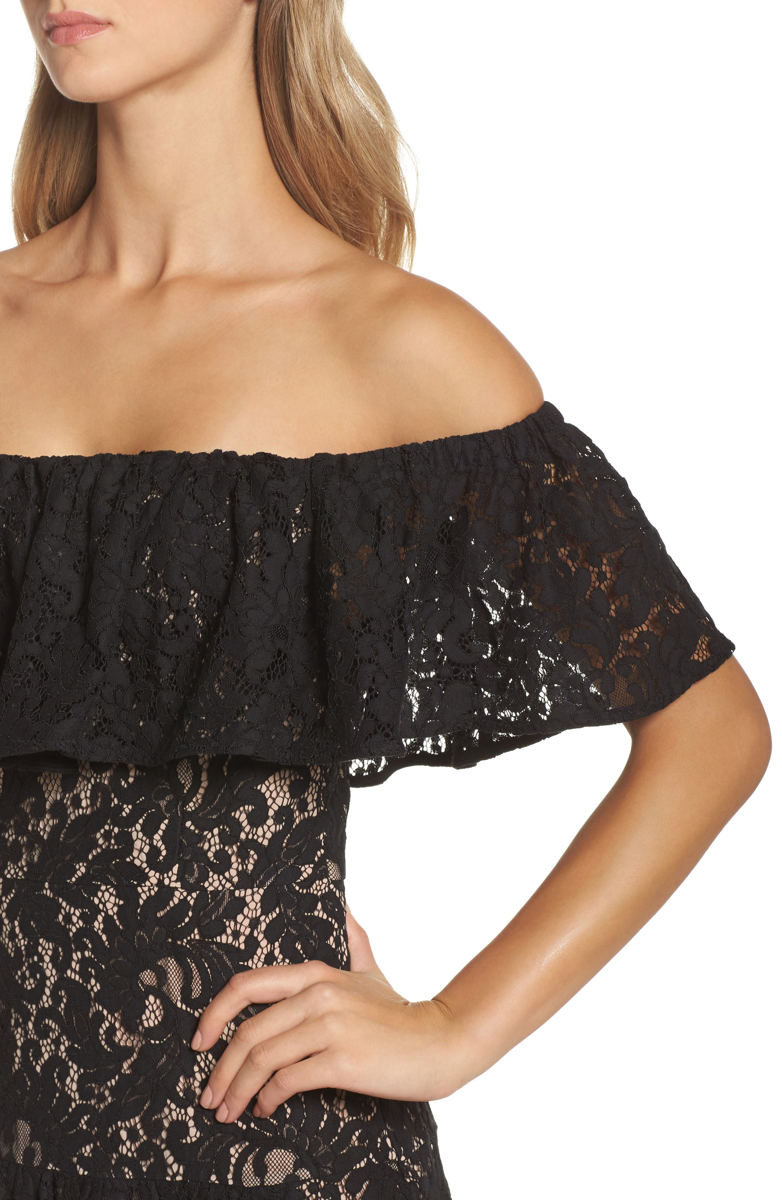Sunday Silence Lace Off the Shoulder Dress,                             Alternate thumbnail 4, color,                             Black