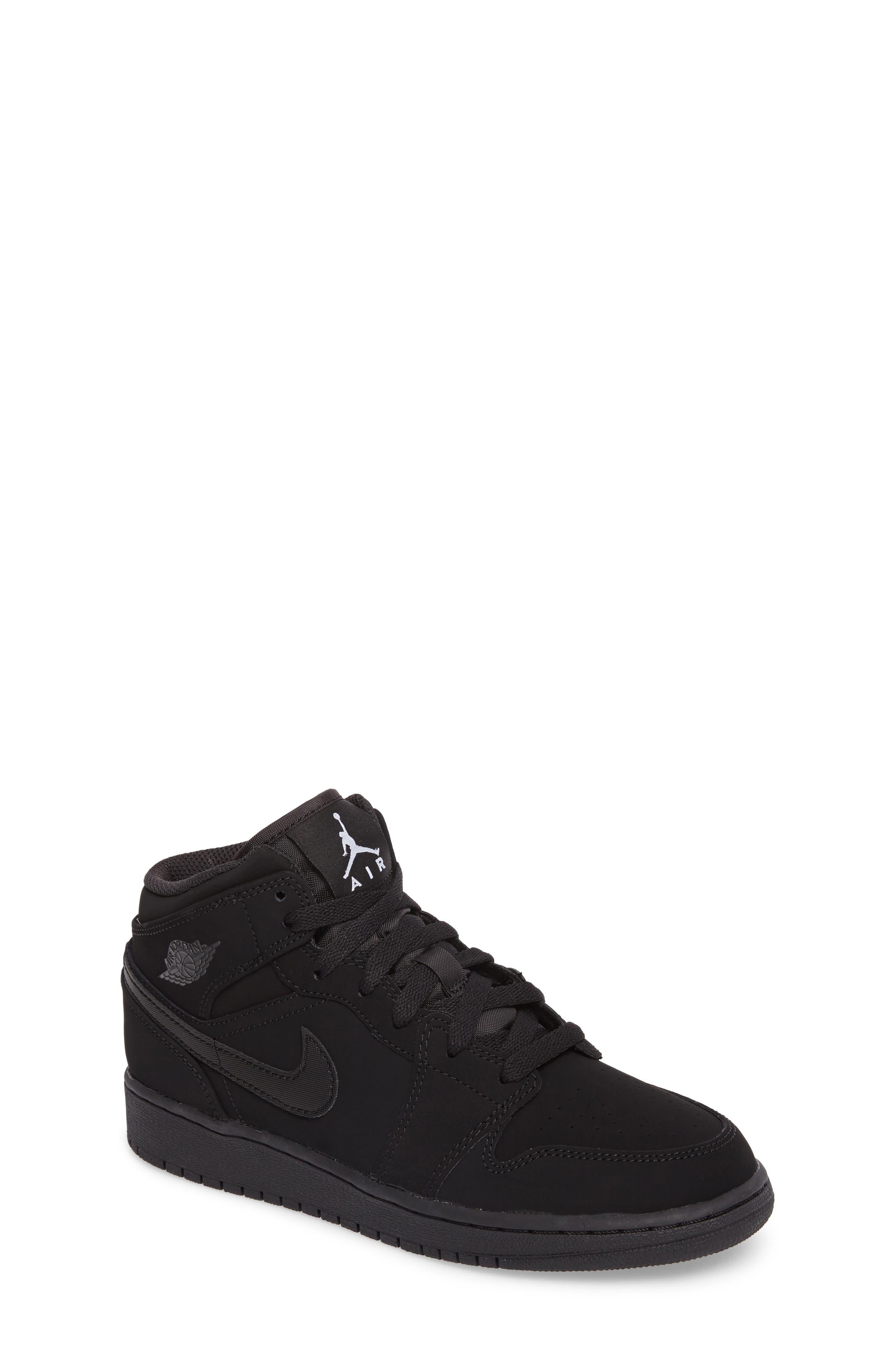 Nike 'Air Jordan 1 Mid' Sneaker,                             Main thumbnail 1, color,                             Black