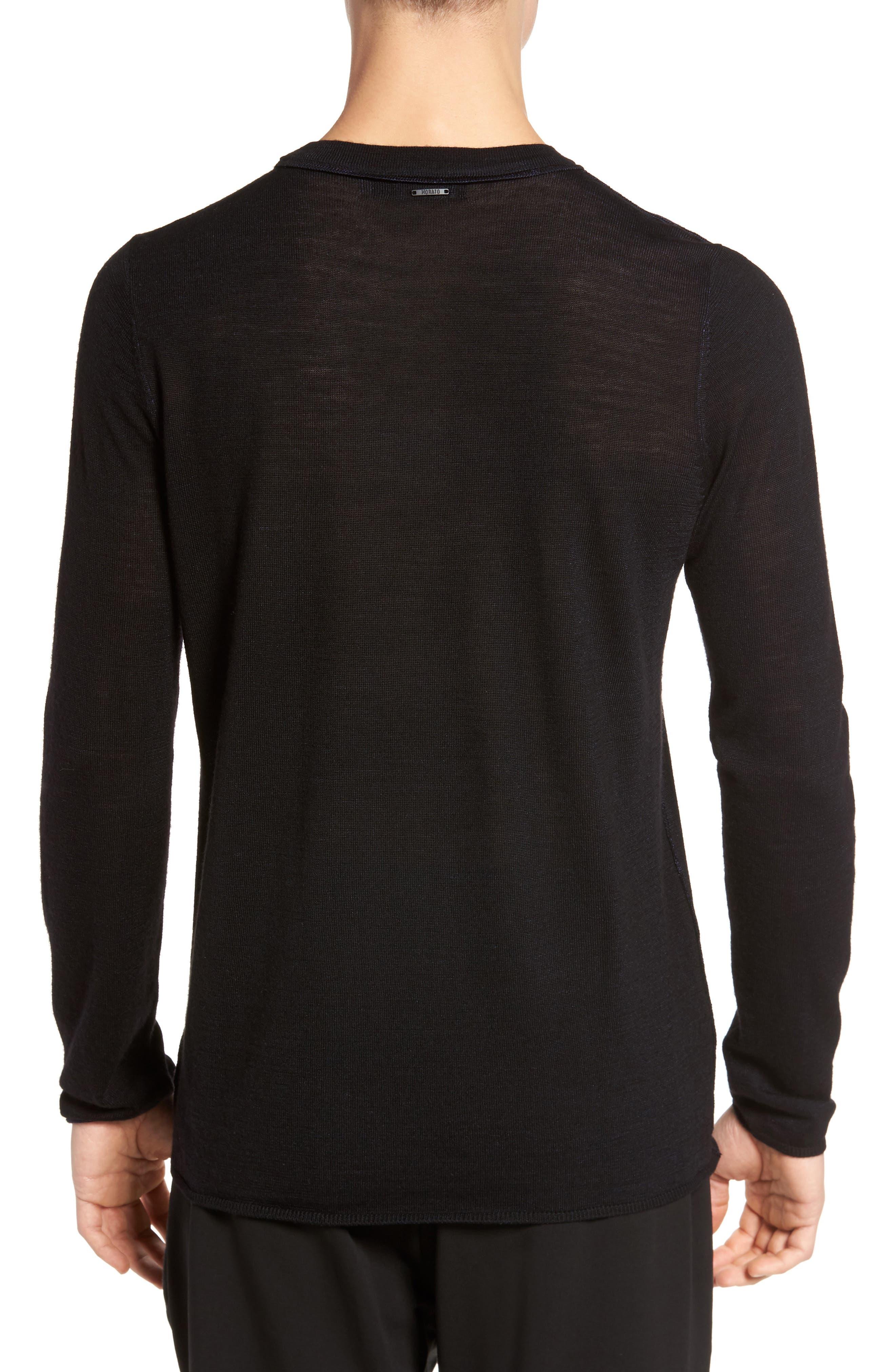 Crewneck Wool Blend Sweater,                             Alternate thumbnail 2, color,                             Black
