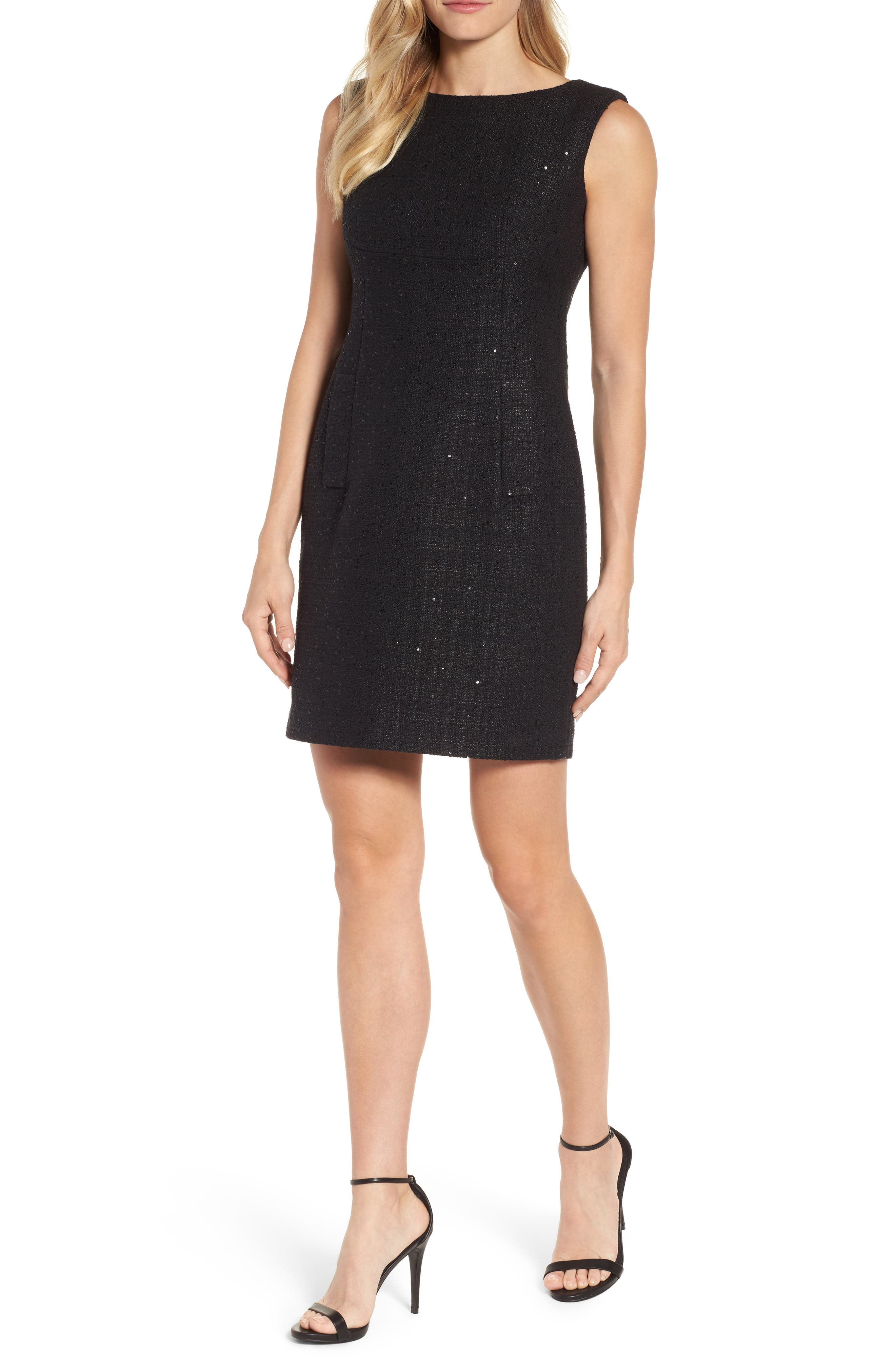 Sequin Tweed Sheath Dress,                         Main,                         color, Black/ Black