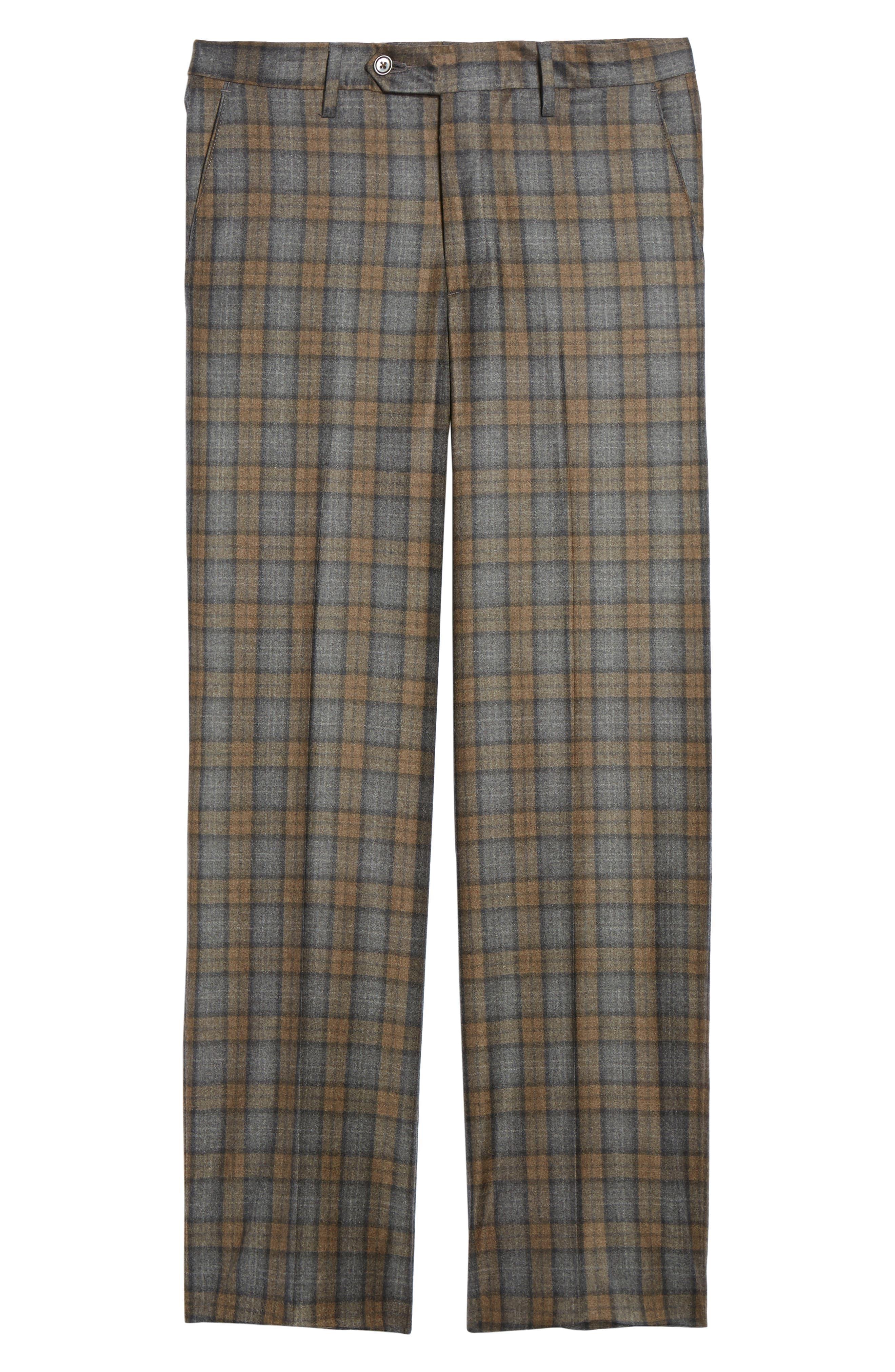 Flat Front Plaid Wool Trousers,                             Alternate thumbnail 6, color,                             Dark Tan