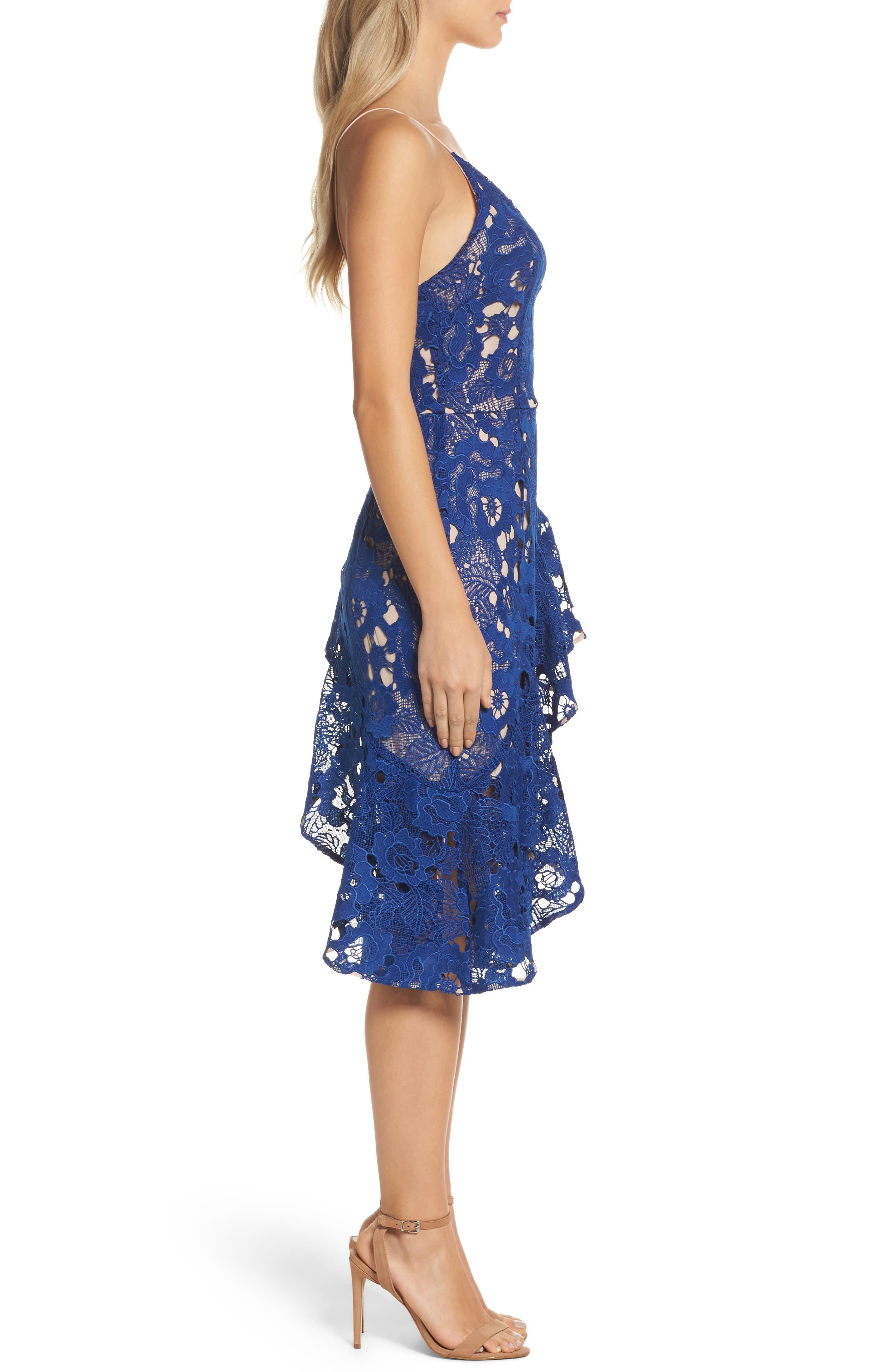 Sky Beauty Lace Ruffle Dress,                             Alternate thumbnail 3, color,                             Catalina Blue